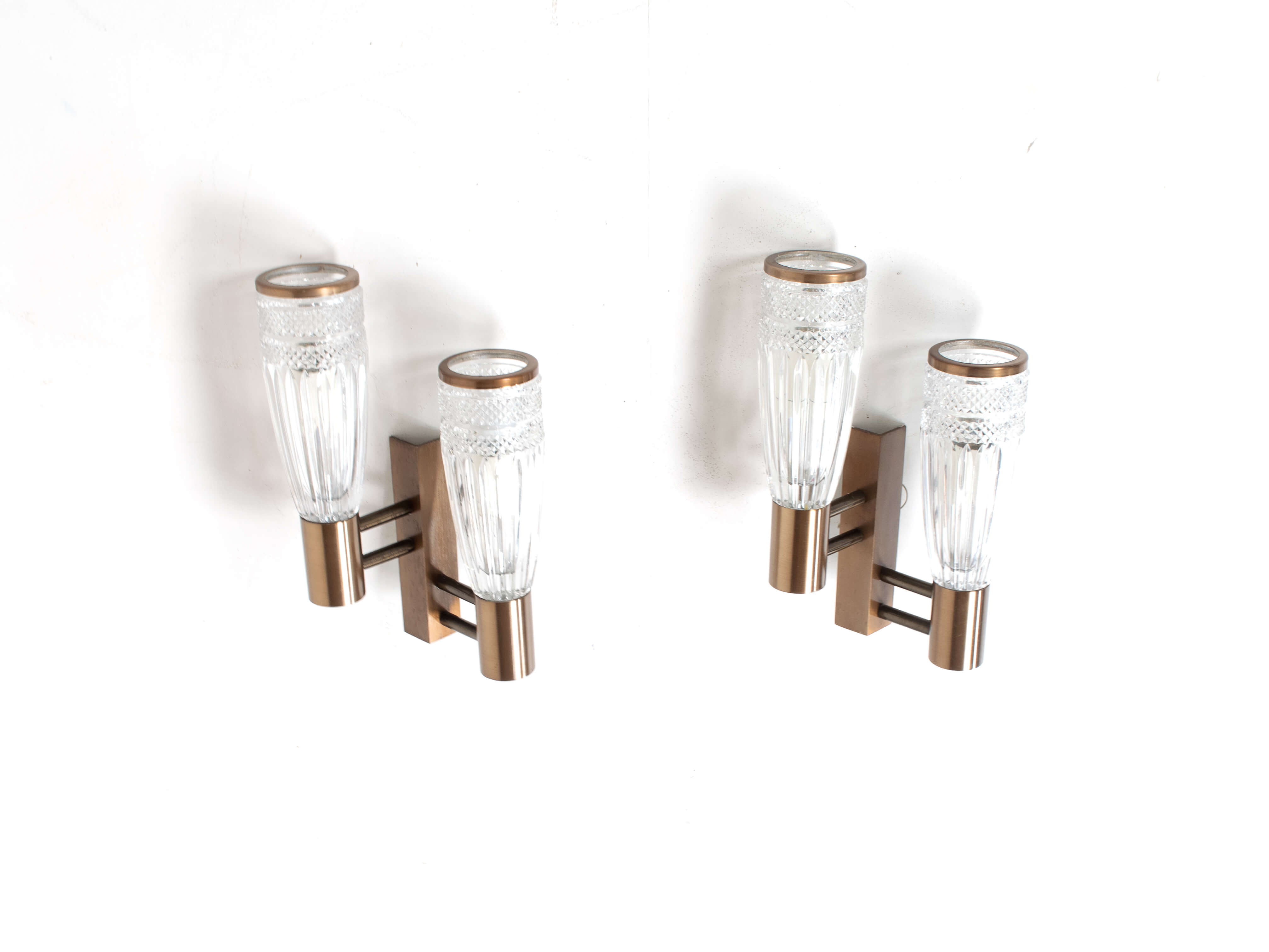 Set of Three Stilux Wall Appliques in Glass, Wood and Metal from Italy 1960s