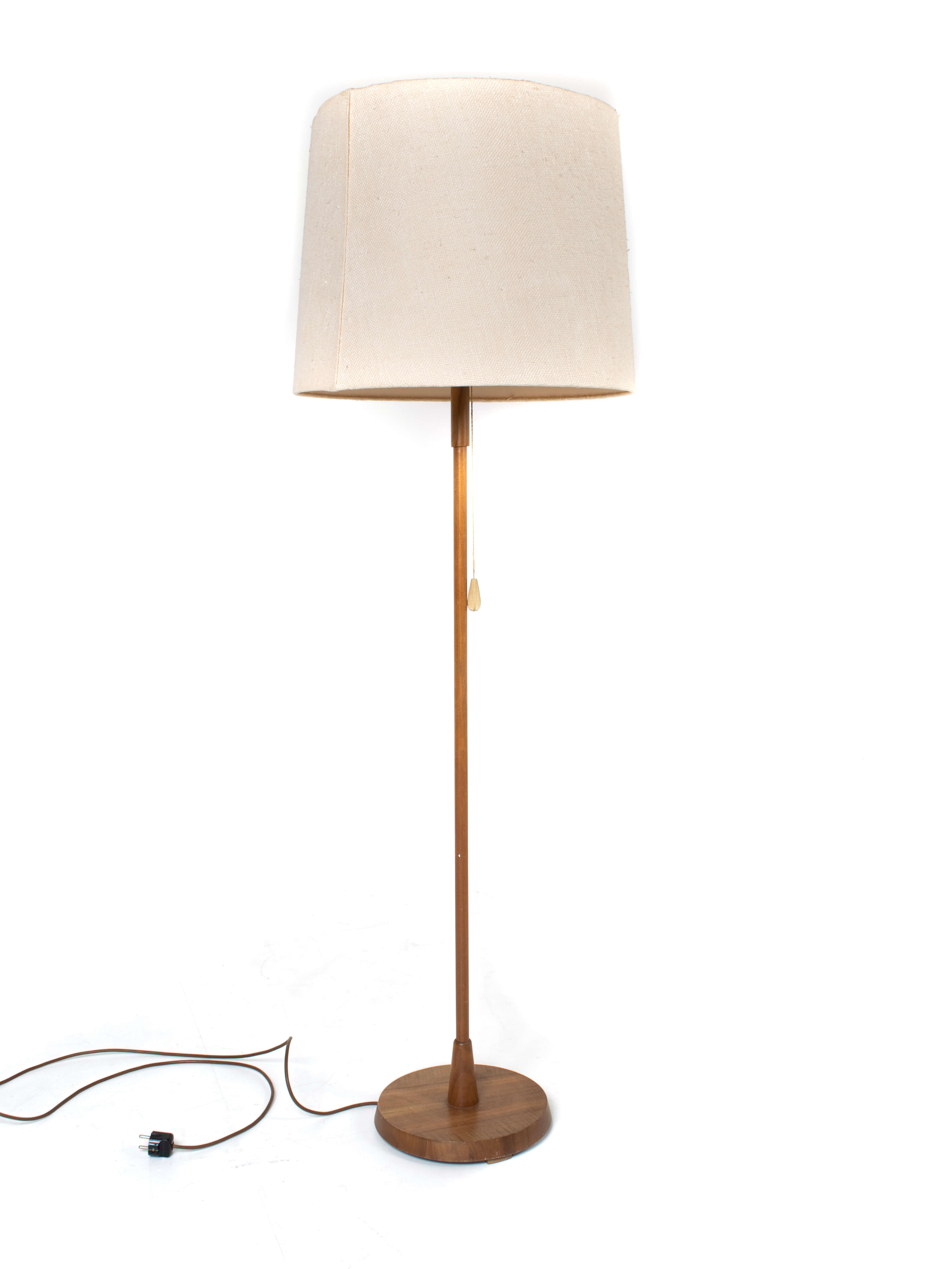 Temde Floor Lamp in Teak and Fabric, Germany 1970s