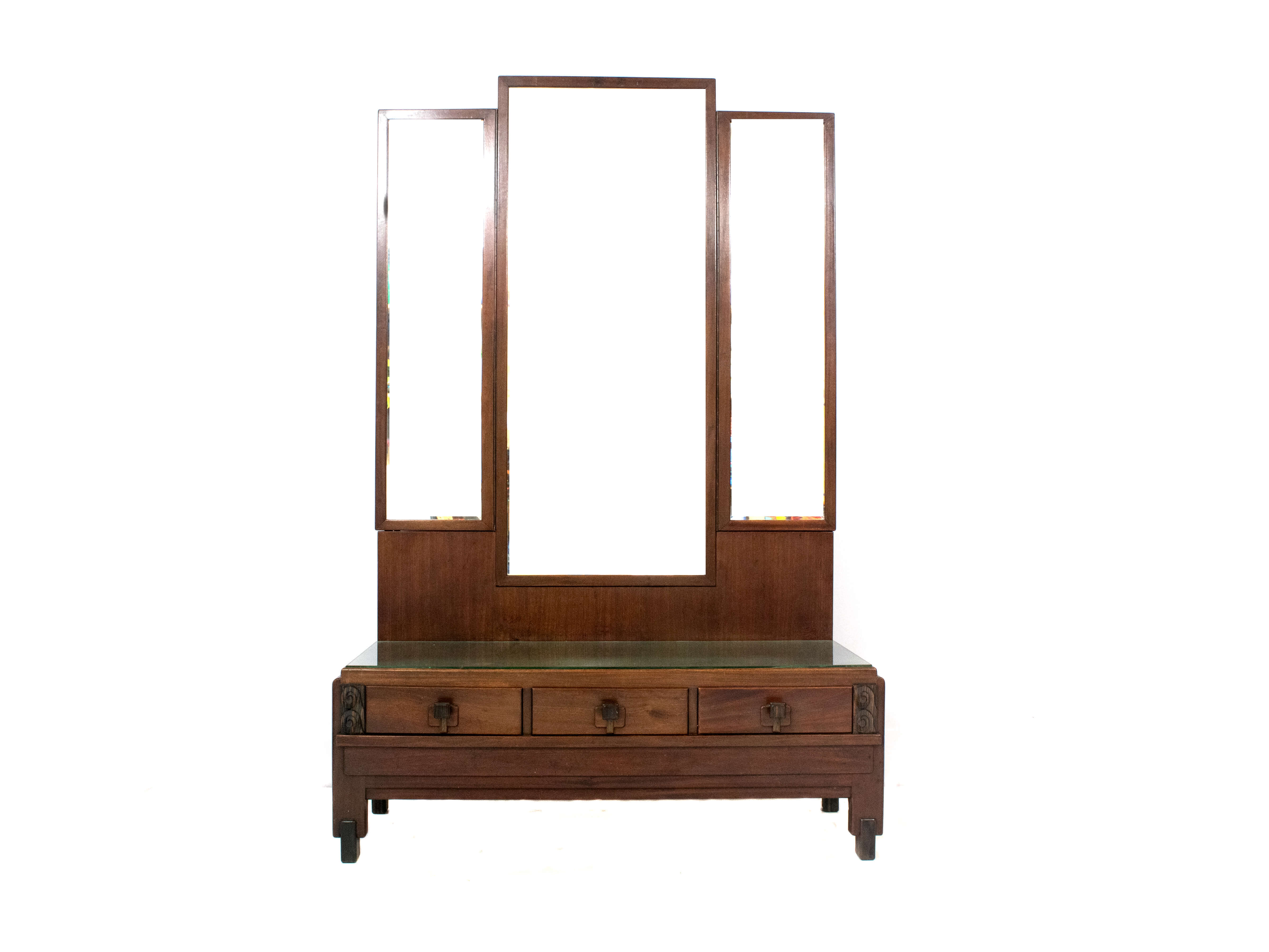 Amsterdam School Mahogany Dressing- Hall Cabinet with Three Mirrors, ±1920s