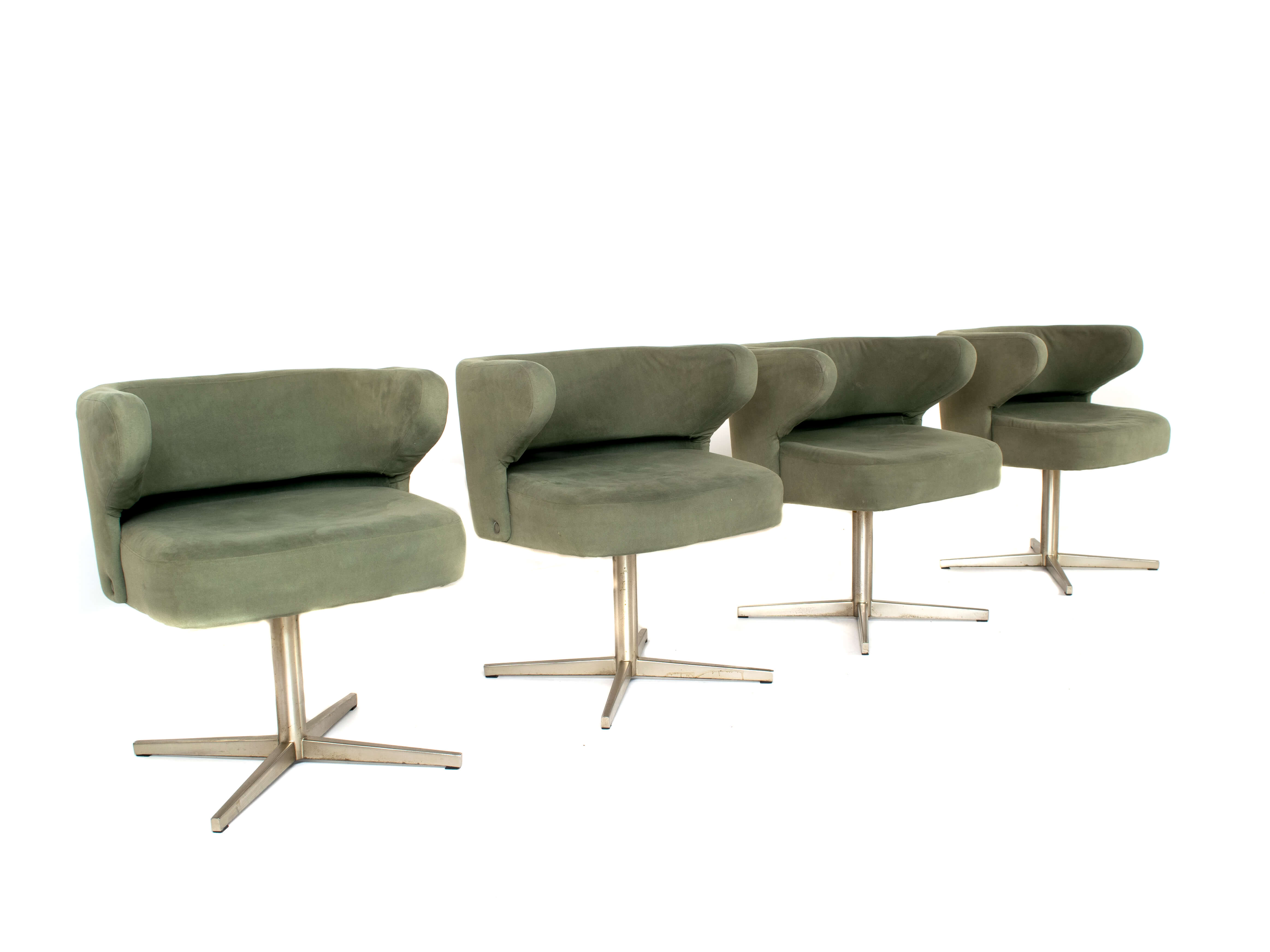 Set of Four Gianni Moscatelli Swivel 'Poney' Chairs for Formanova, Italy 1970's