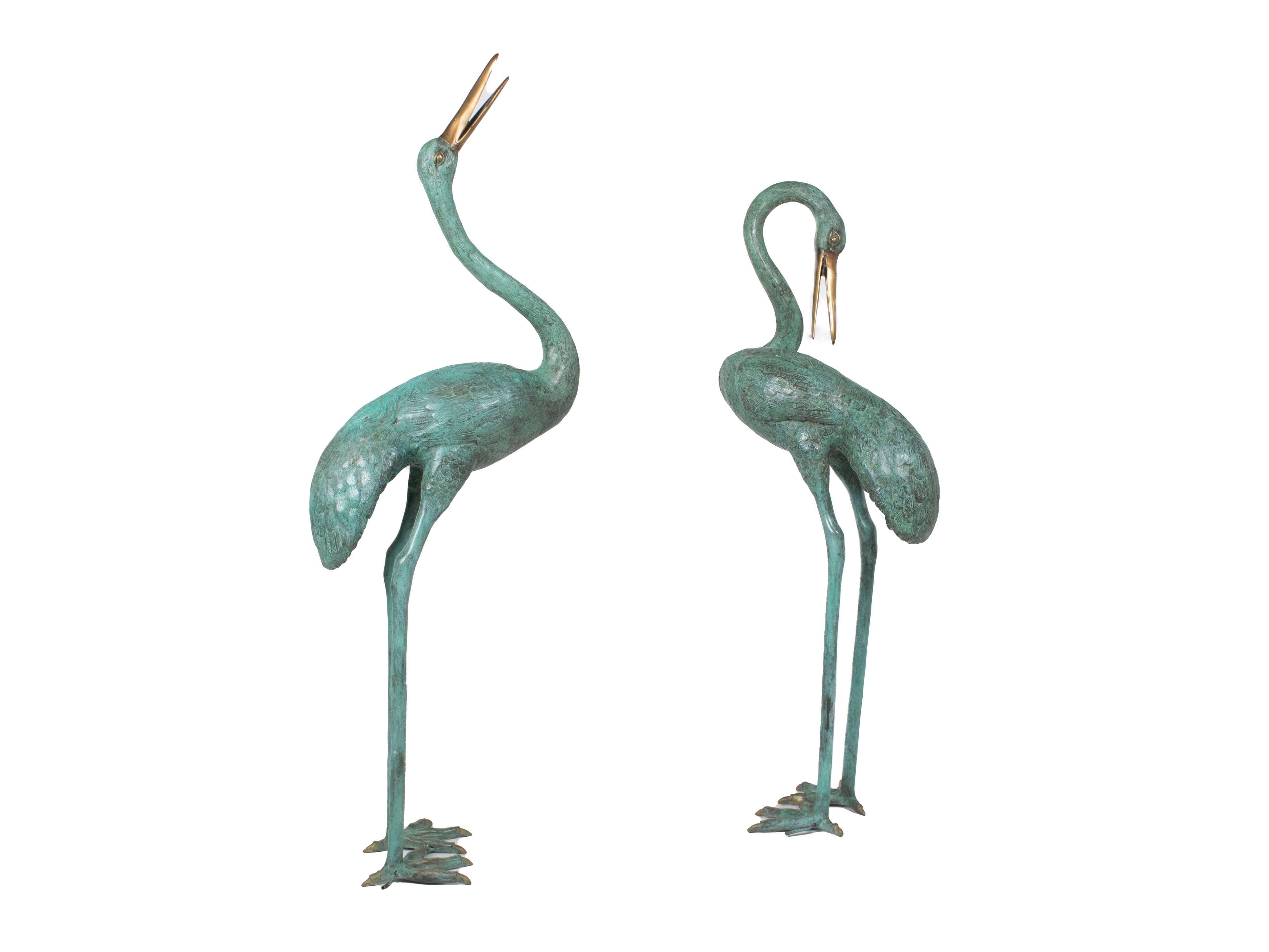 Set of Two Crane Bird Fountains or Statues in Patinated Bronze