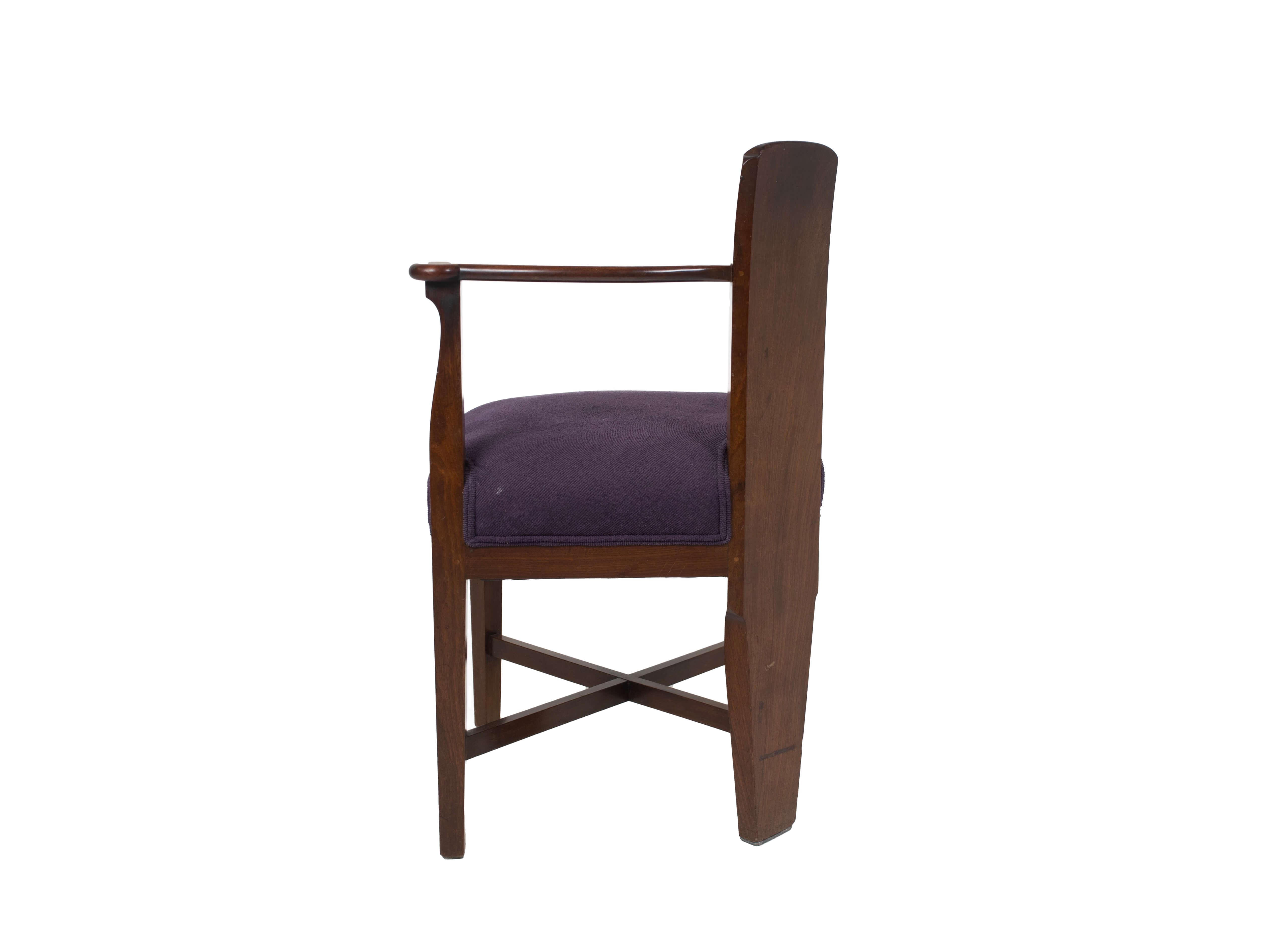 Side view Amsterdam School Mahogany Corner Chair by Jac van den Bosch, Netherlands 1910s