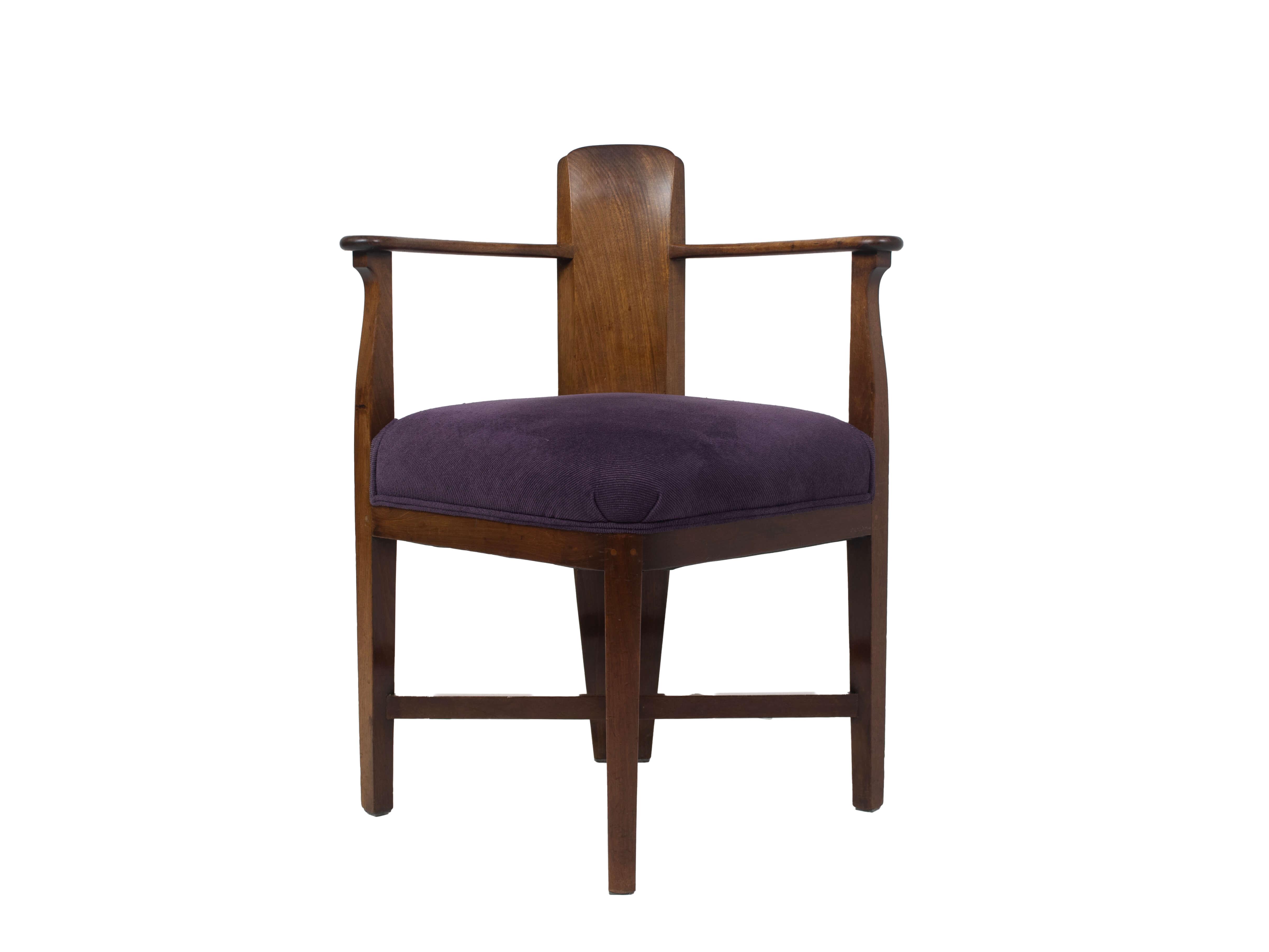 Front view Amsterdam School Mahogany Corner Chair by Jac van den Bosch, Netherlands 1910s