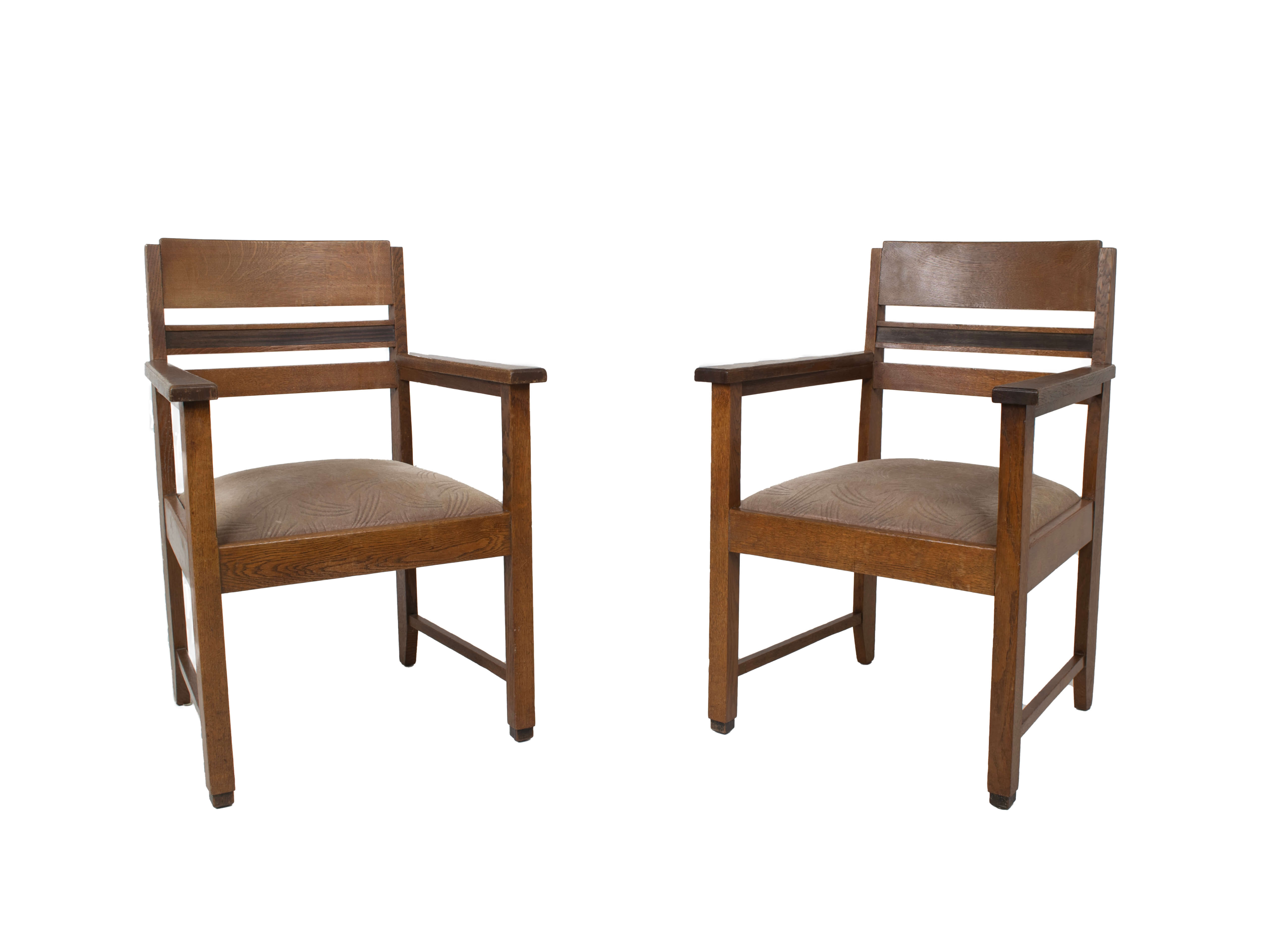 Set of Amsterdam School Arm Chairs, The Netherlands ~1930s
