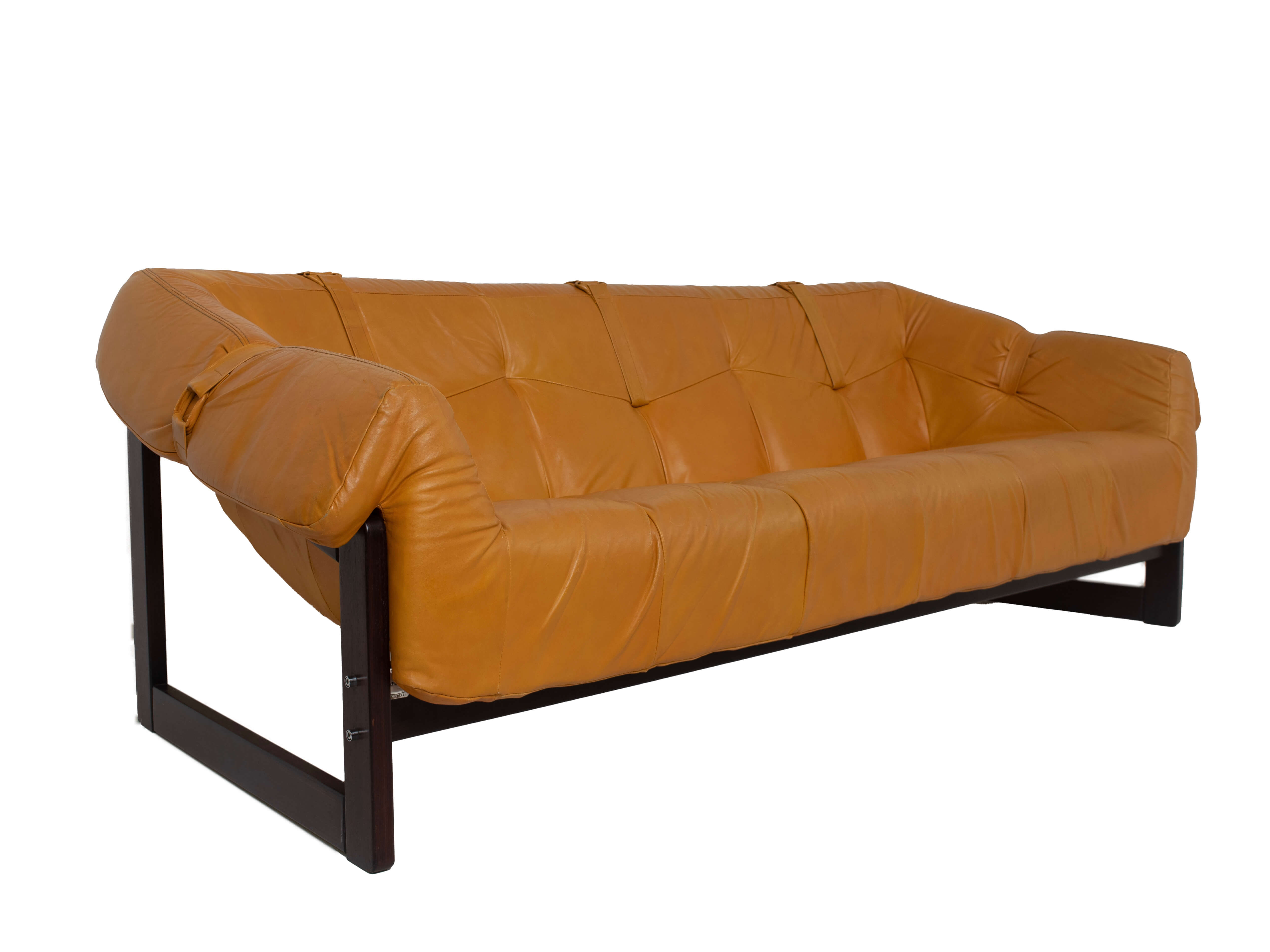 Percival Lafer Sofa MP-091 in Leather and Hardwood, Brazil 1960s