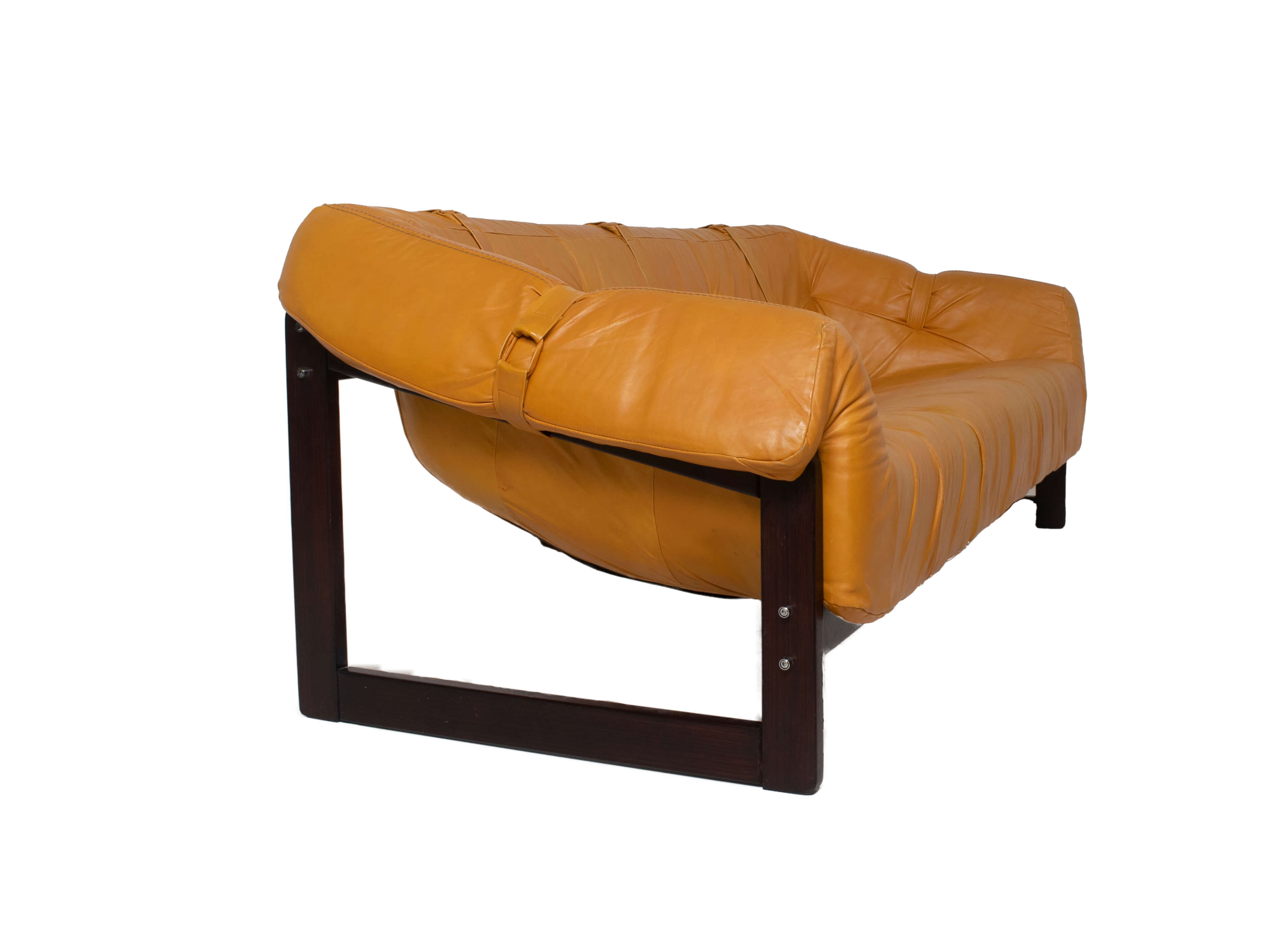 Side view Percival Lafer Sofa MP-091 in Leather and Hardwood, Brazil 1960s