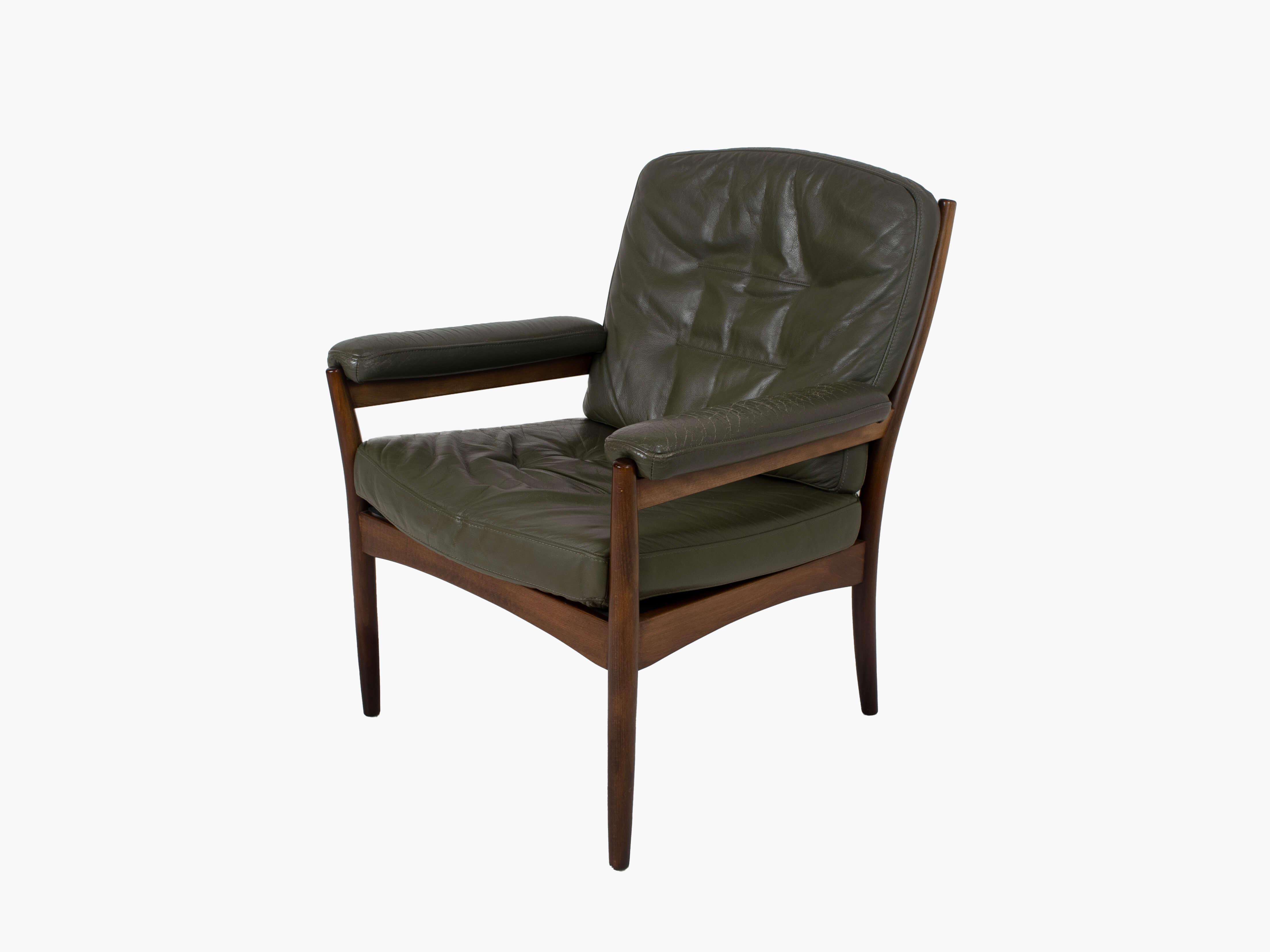 G-Mobel Easy Chair in Green Leather for Göte Möbler, Sweden 1970s