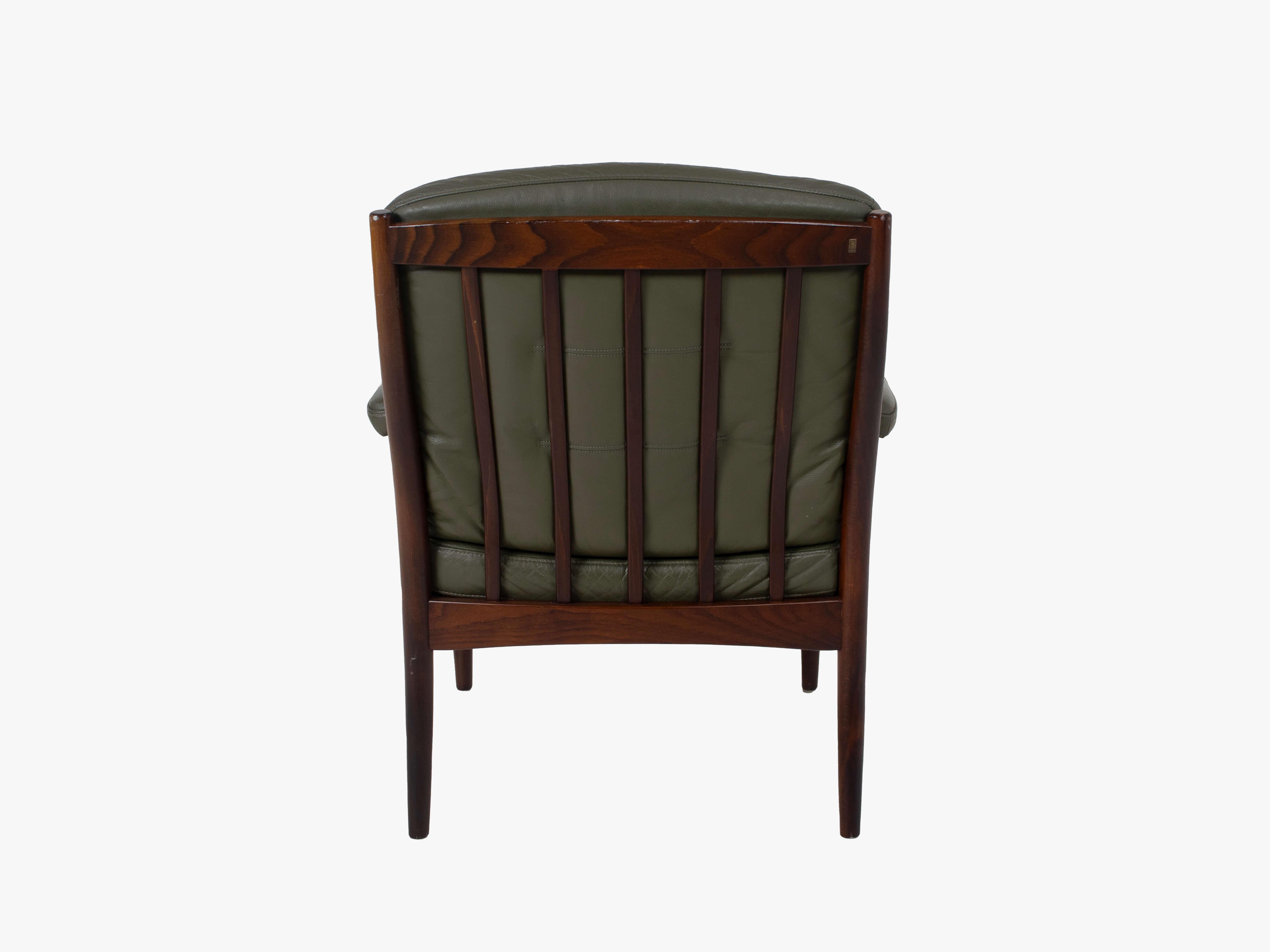 Back view G-Mobel Easy Chair in Green Leather for Göte Möbler, Sweden 1970s