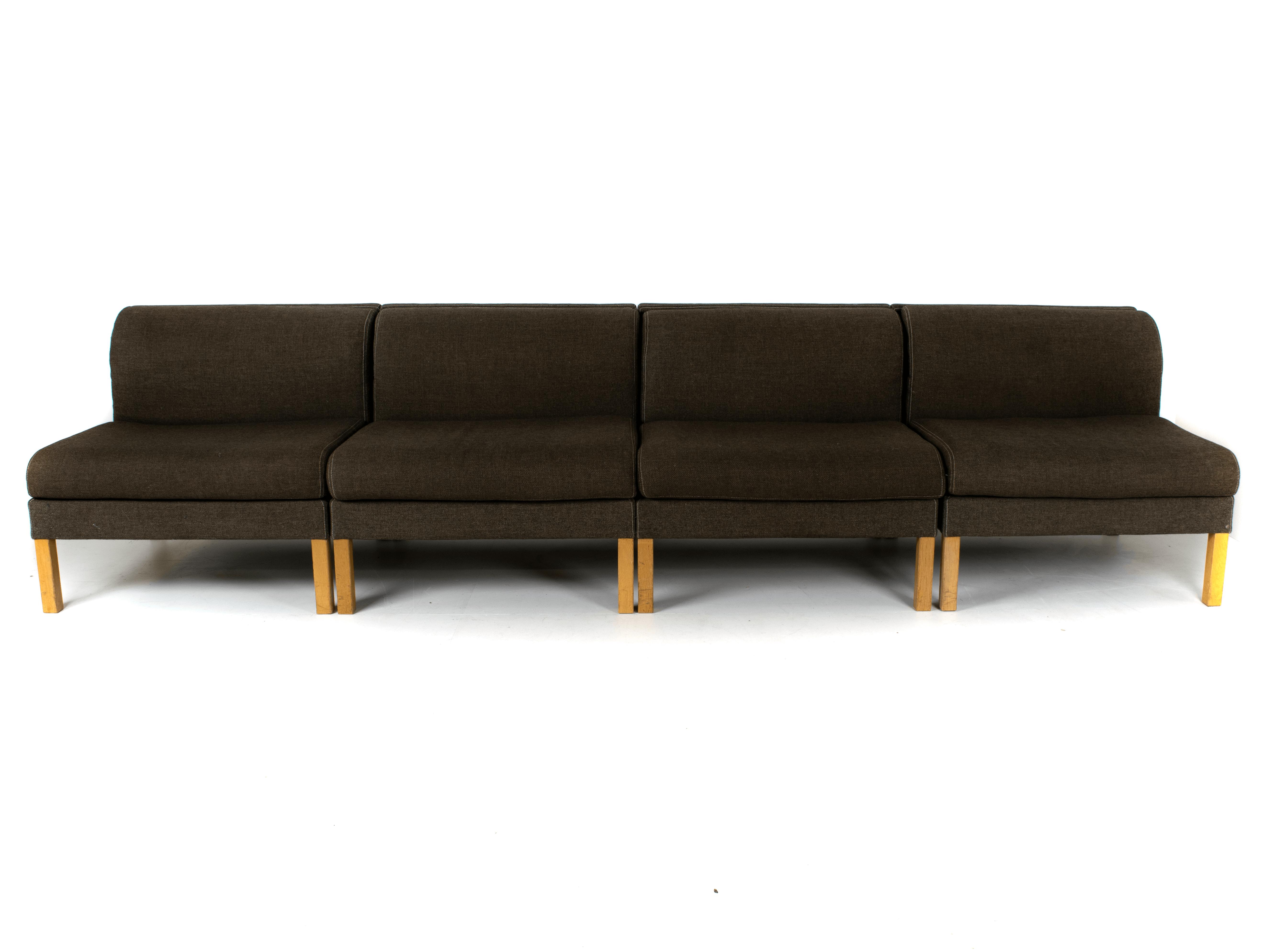 Front view Bernt Petersen Modular Sofa in Oak and Saga 180 Fabric, Denmark 1980
