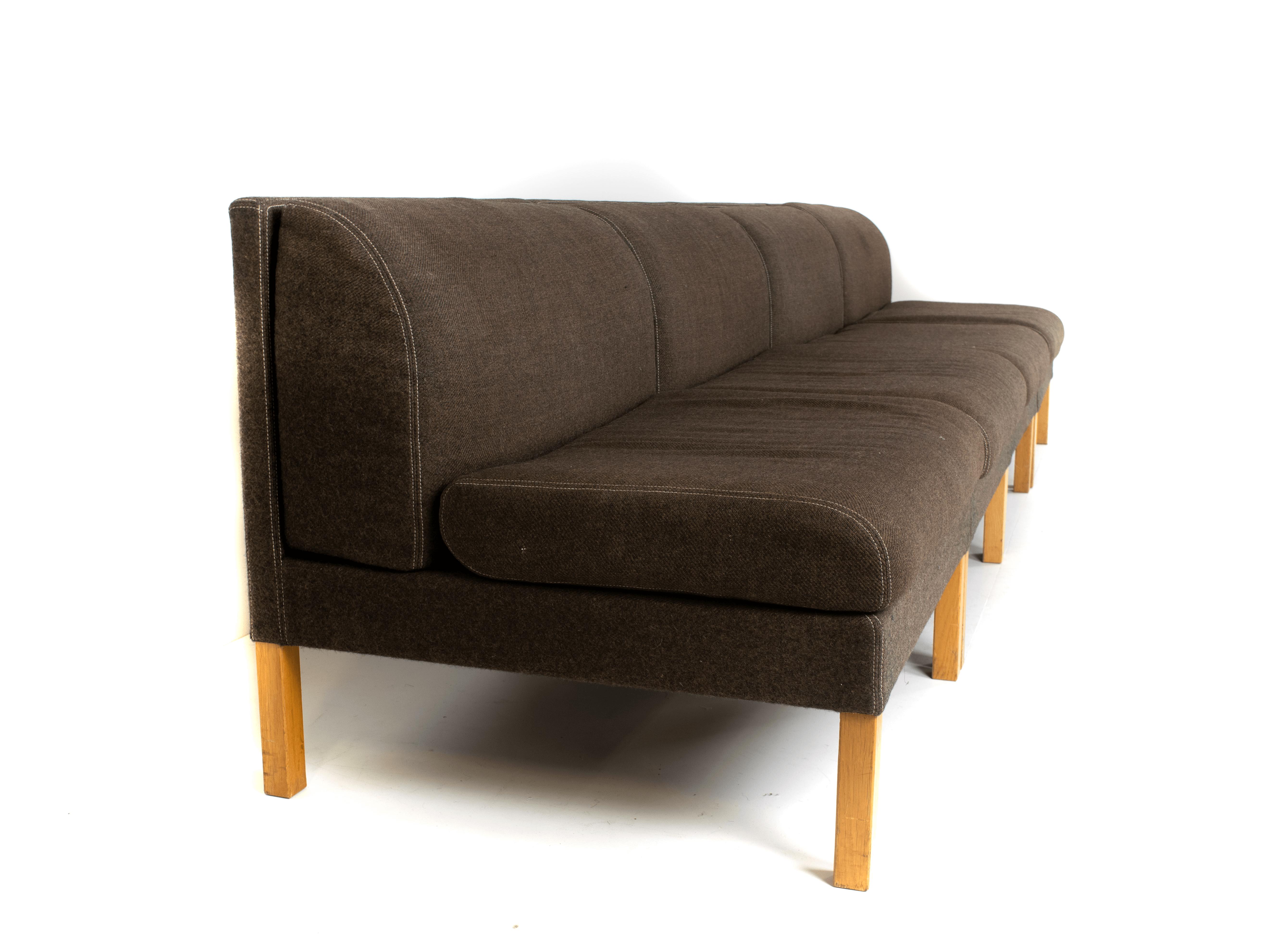 Side view Bernt Petersen Modular Sofa in Oak and Saga 180 Fabric, Denmark 1980