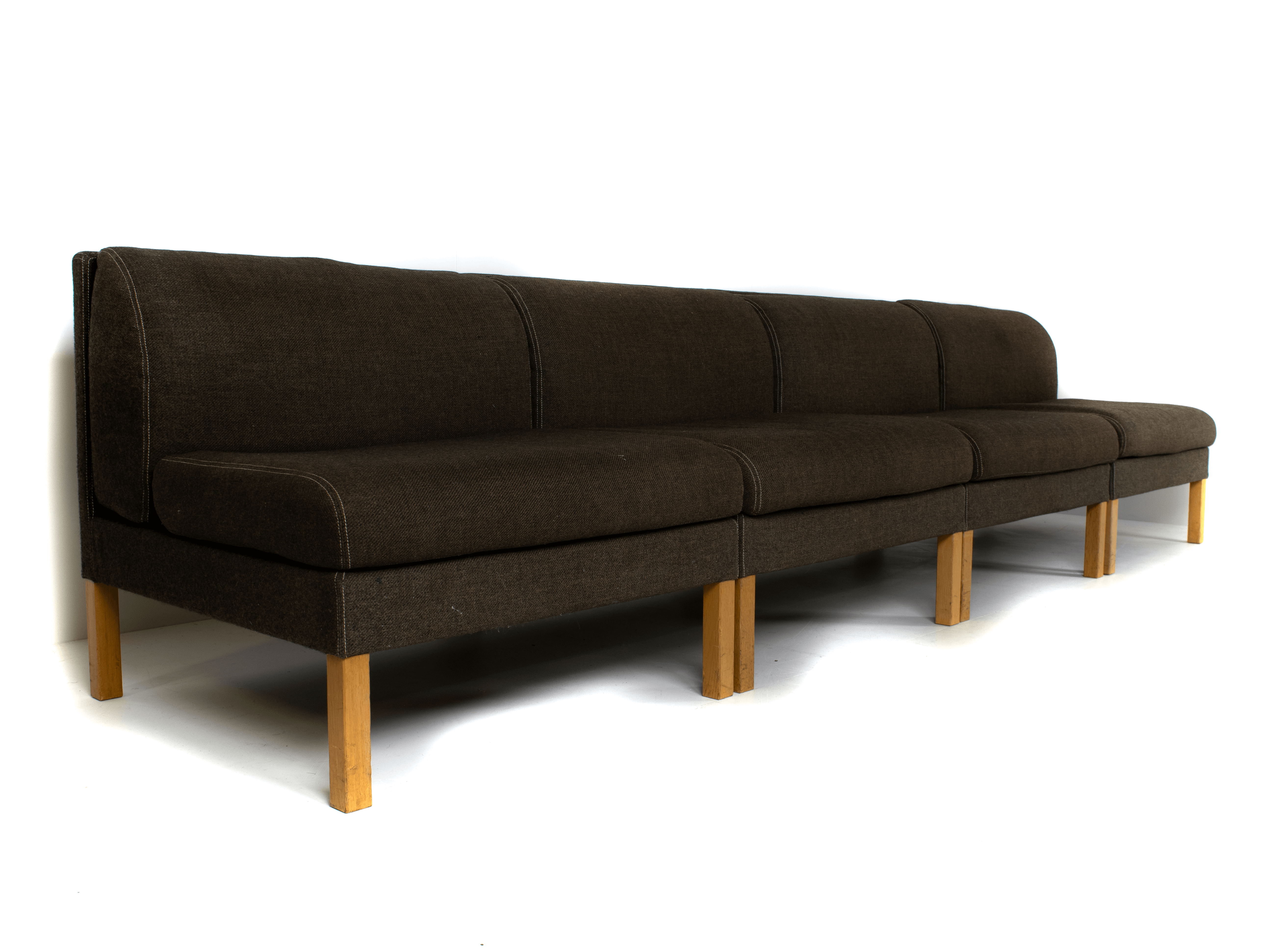 Bernt Petersen Modular Sofa in Oak and Saga 180 Fabric, Denmark 1980
