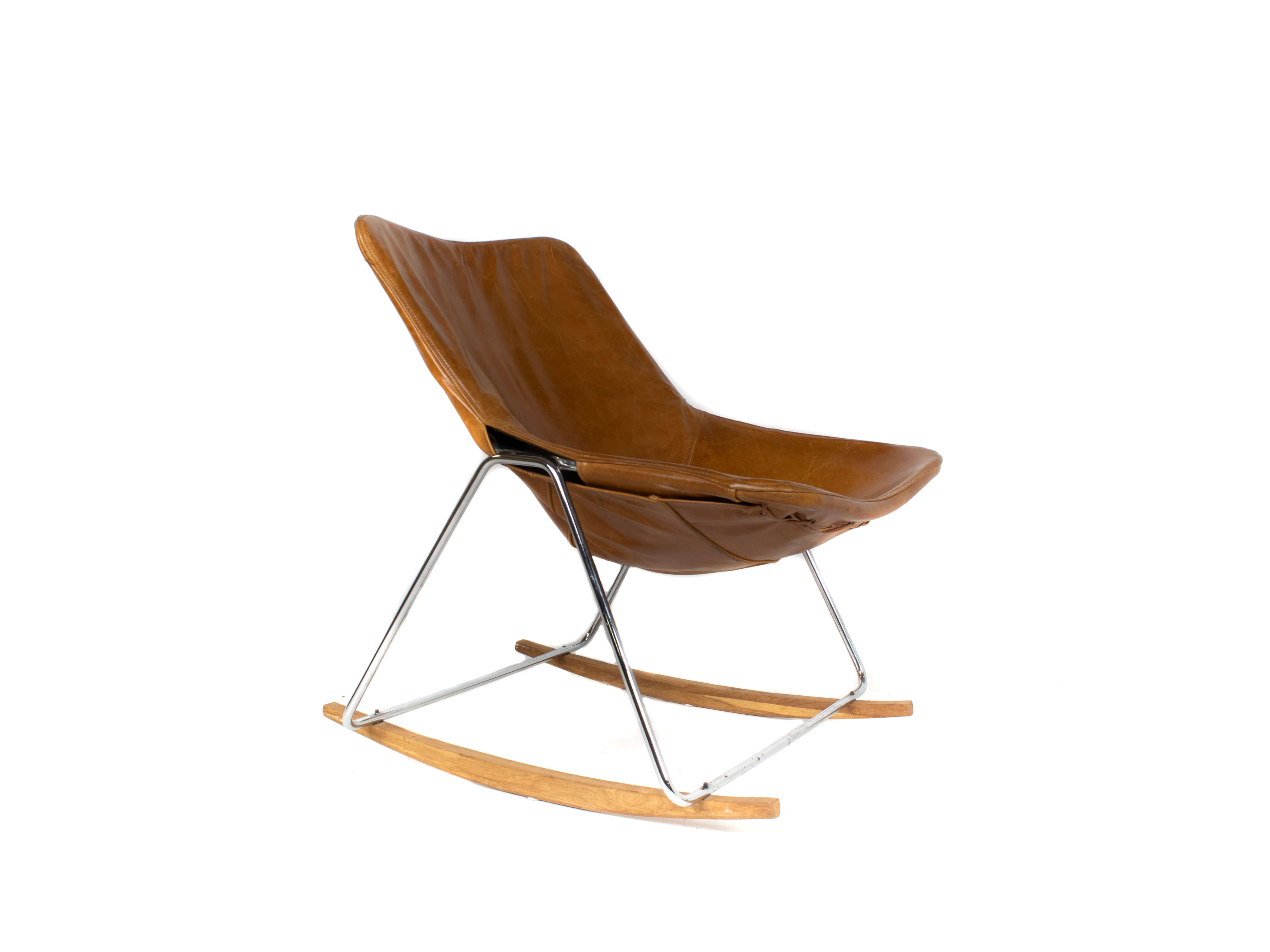 G1 Leather Rocking Chair by Pierre Guariche, France