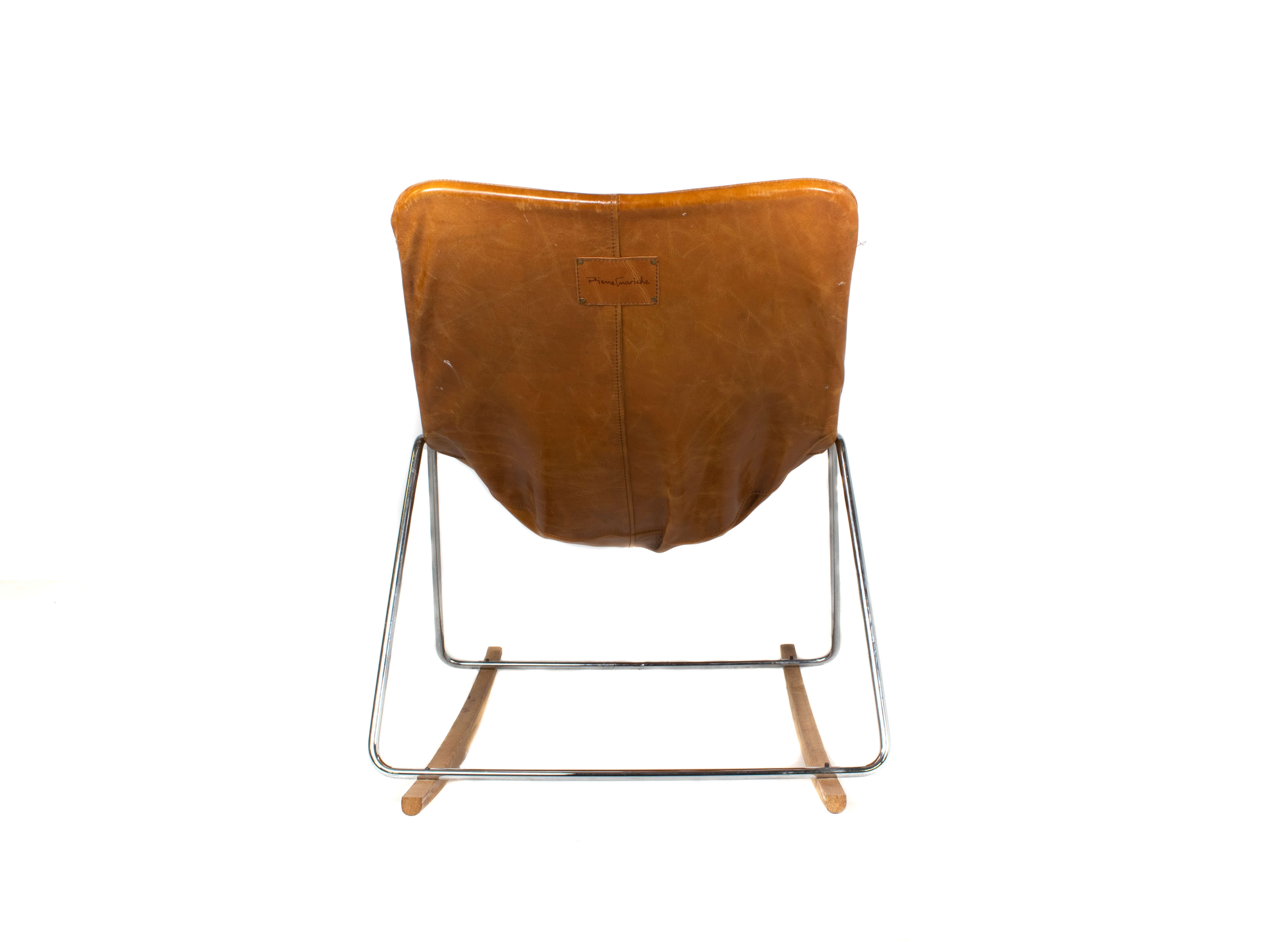 Back view G1 Leather Rocking Chair by Pierre Guariche, France