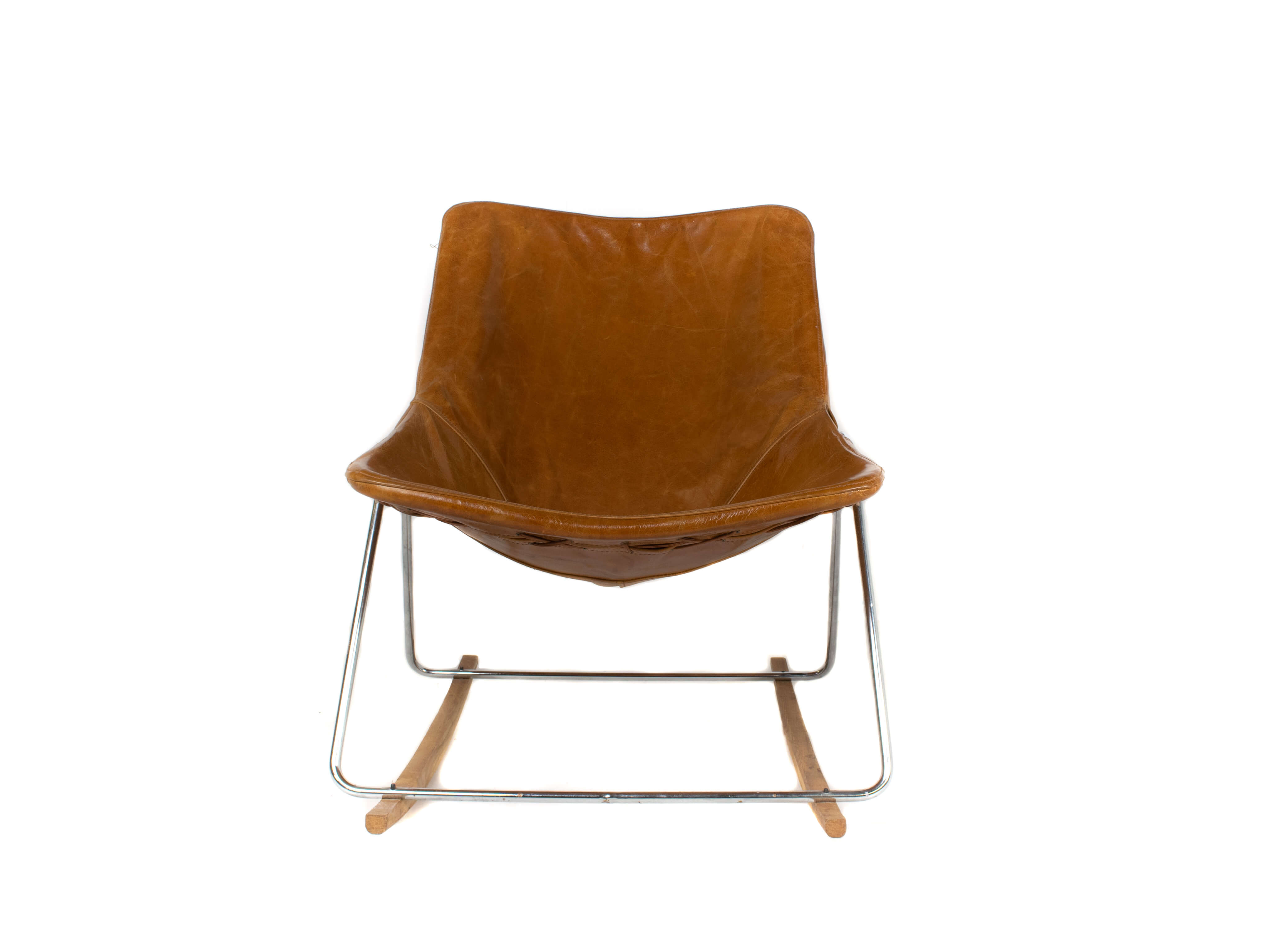 Front view G1 Leather Rocking Chair by Pierre Guariche, France