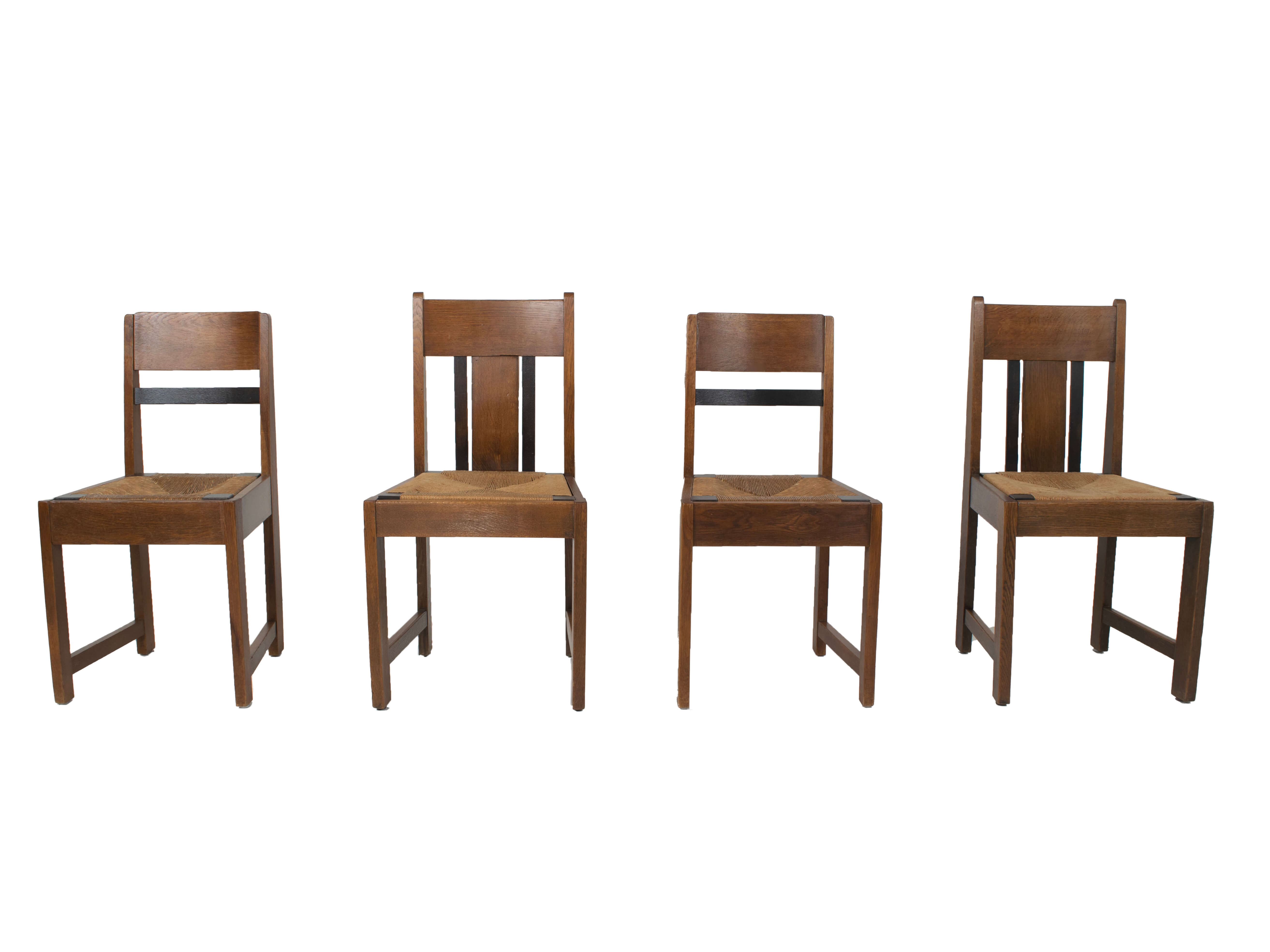 Set of Four Art Deco, Amsterdam School, Dining Chairs, The Netherlands 1930s