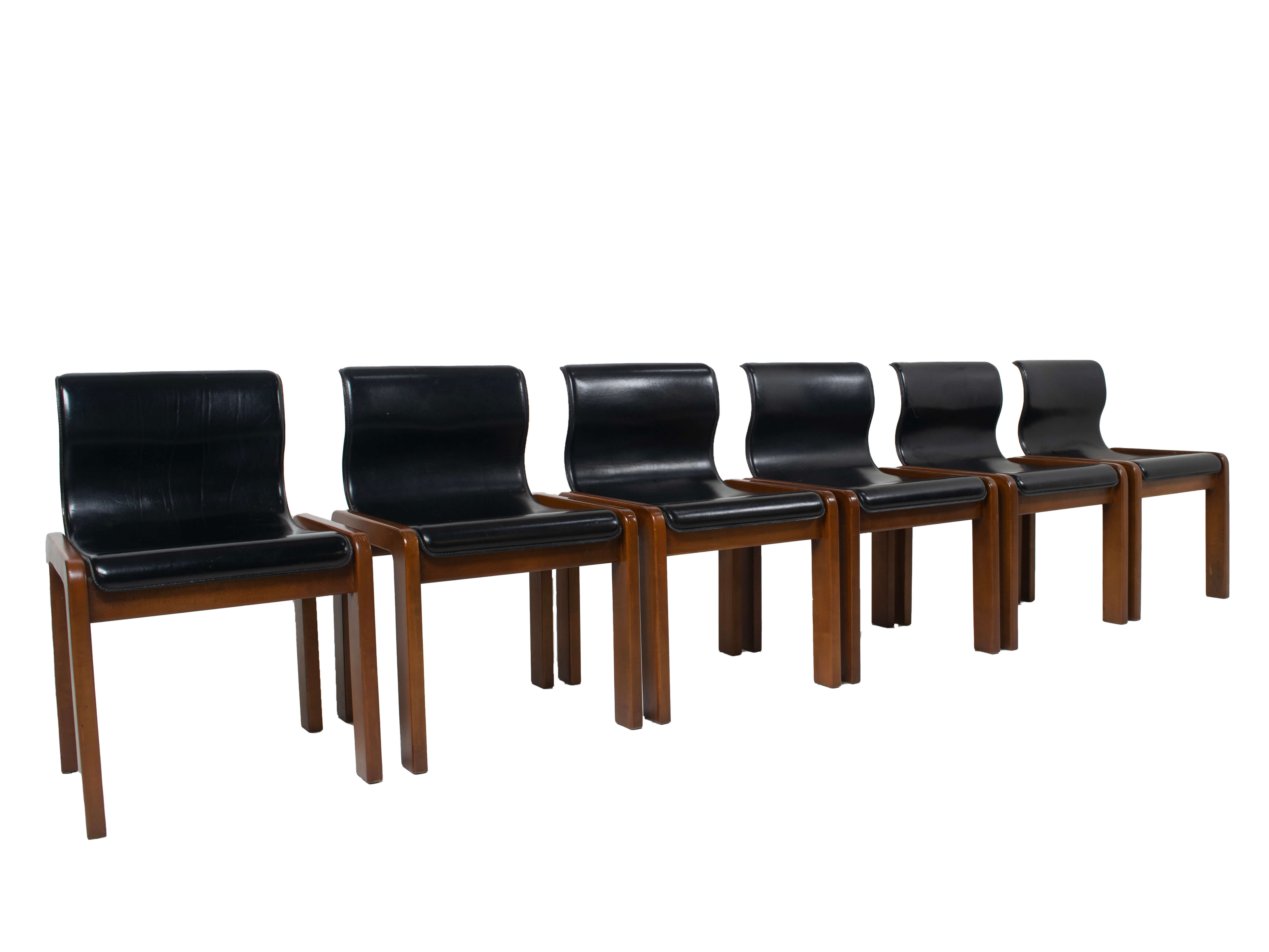 Set of Six Afra & Tobia Scarpa Midcentury Leather and Plywood Dining Chairs, Italy 1966