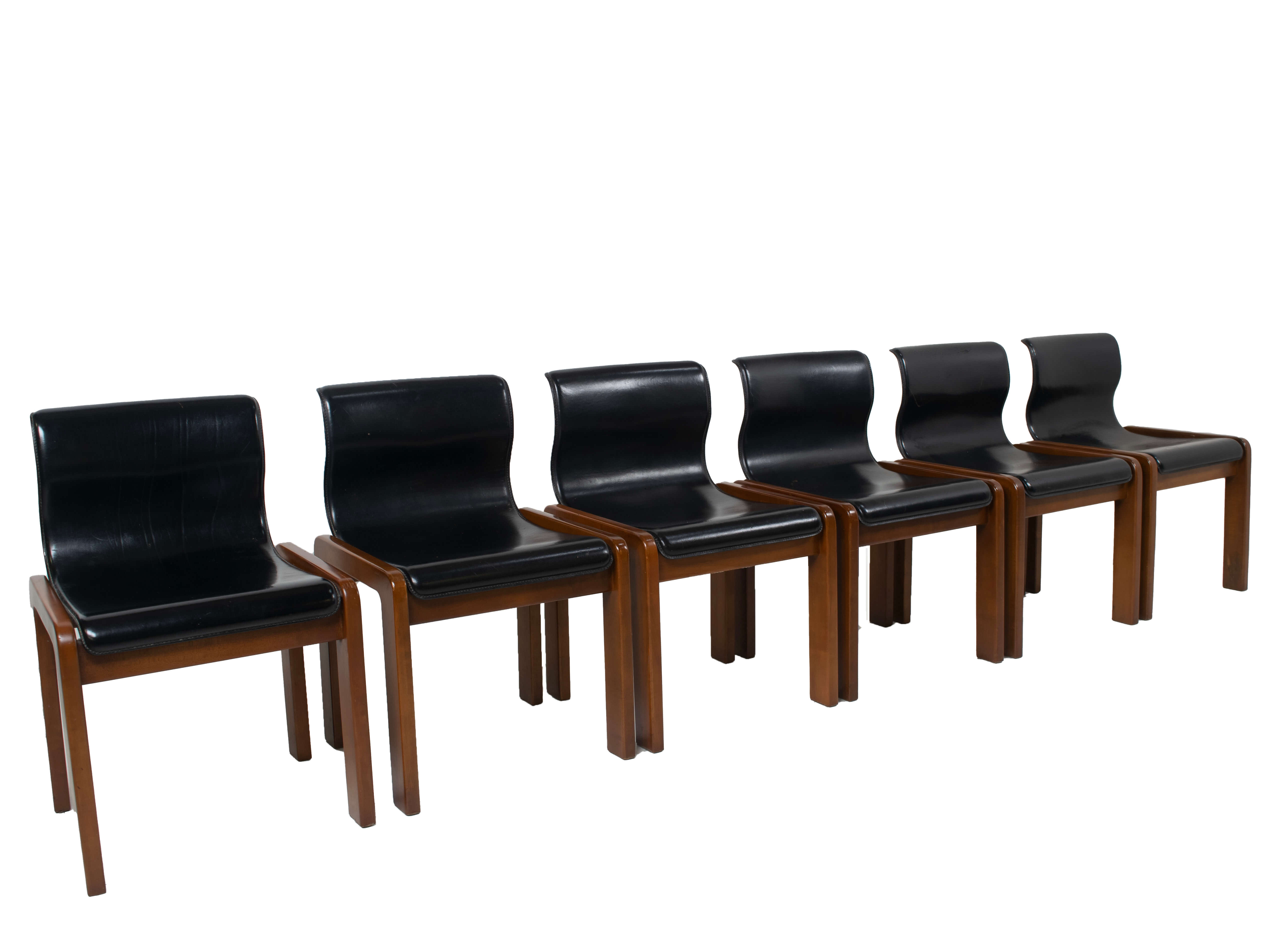 Side view Set of Six Afra & Tobia Scarpa Midcentury Leather and Plywood Dining Chairs, Italy 1966