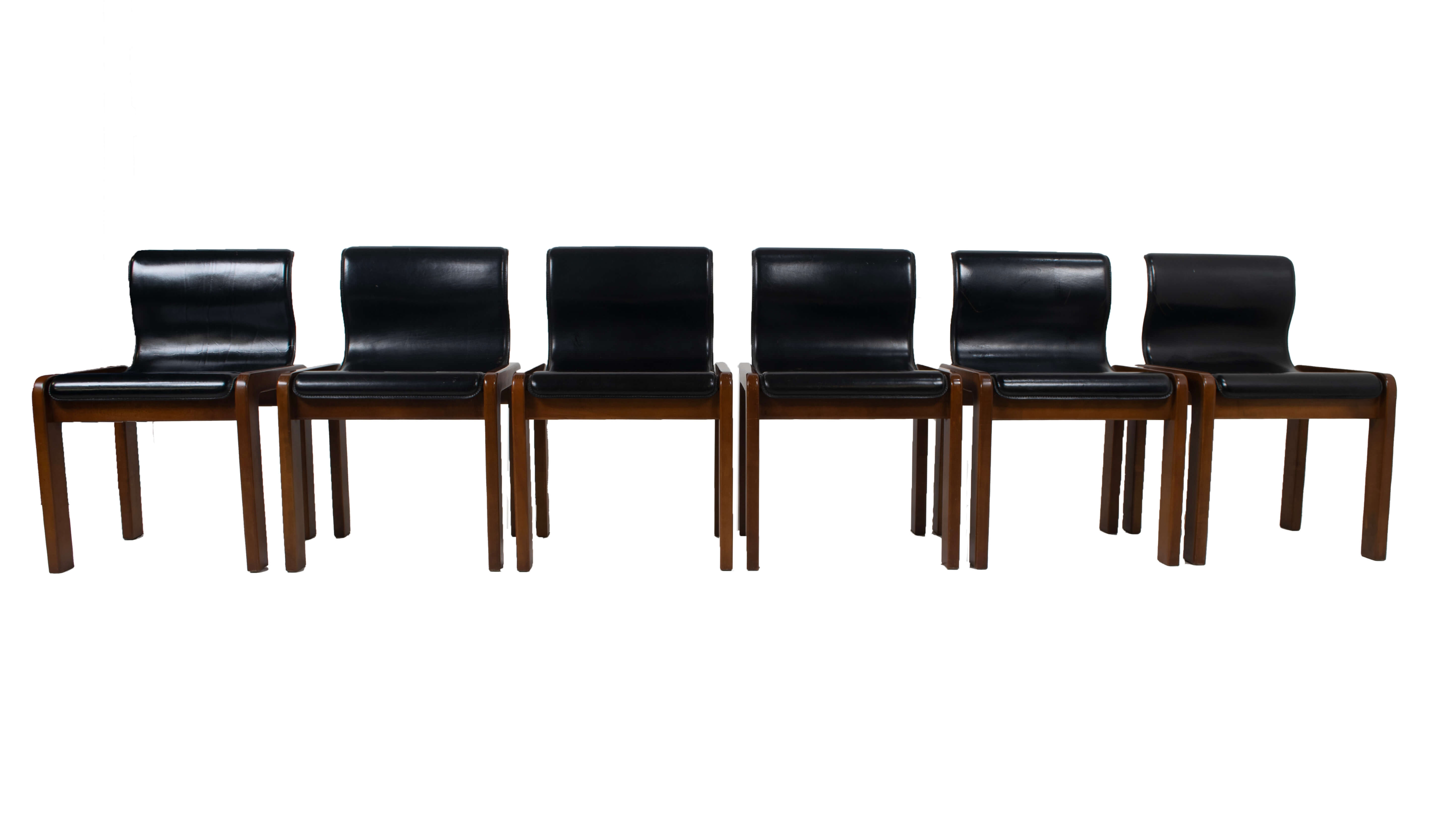 Front view Set of Six Afra & Tobia Scarpa Midcentury Leather and Plywood Dining Chairs, Italy 1966
