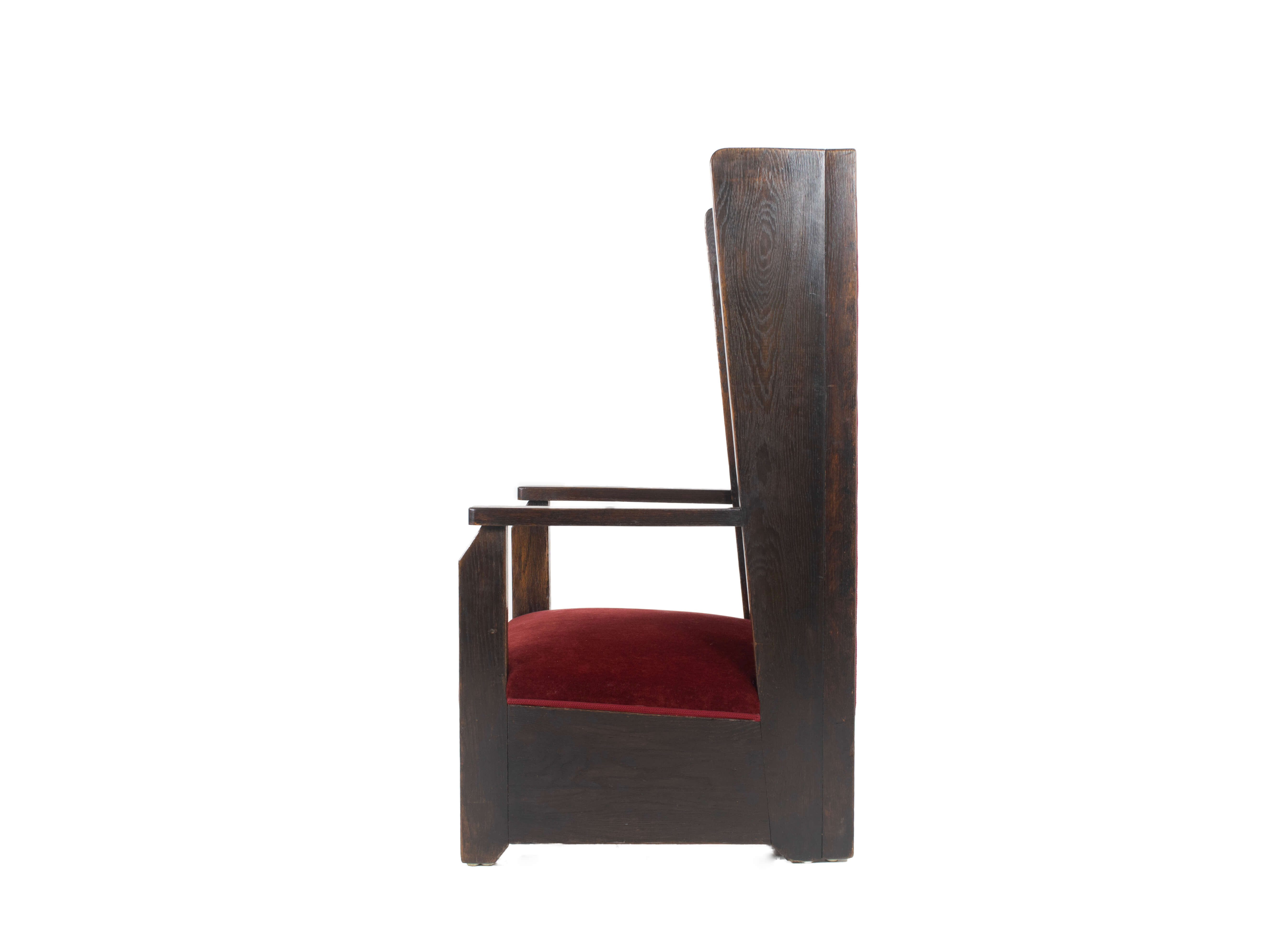 Side view Early Hendrik Wouda Arm Chair The Hague School, The Netherlands 1920s