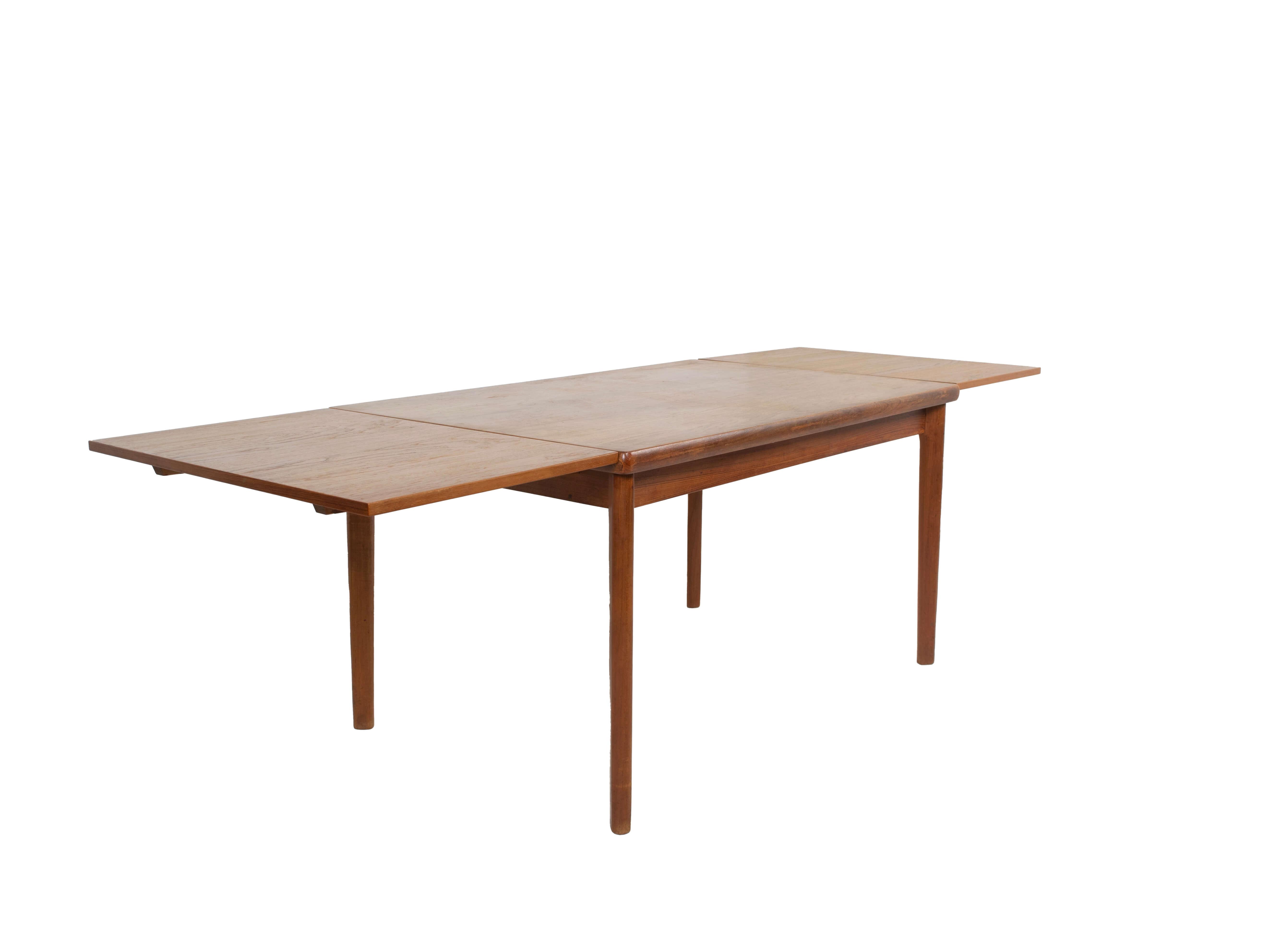 Extendable Extendable Teak Dining Table by Henning Kjaernulf, Denmark 1960s