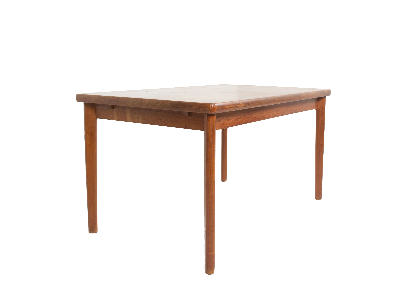 side view Extendable Teak Dining Table by Henning Kjaernulf, Denmark 1960s