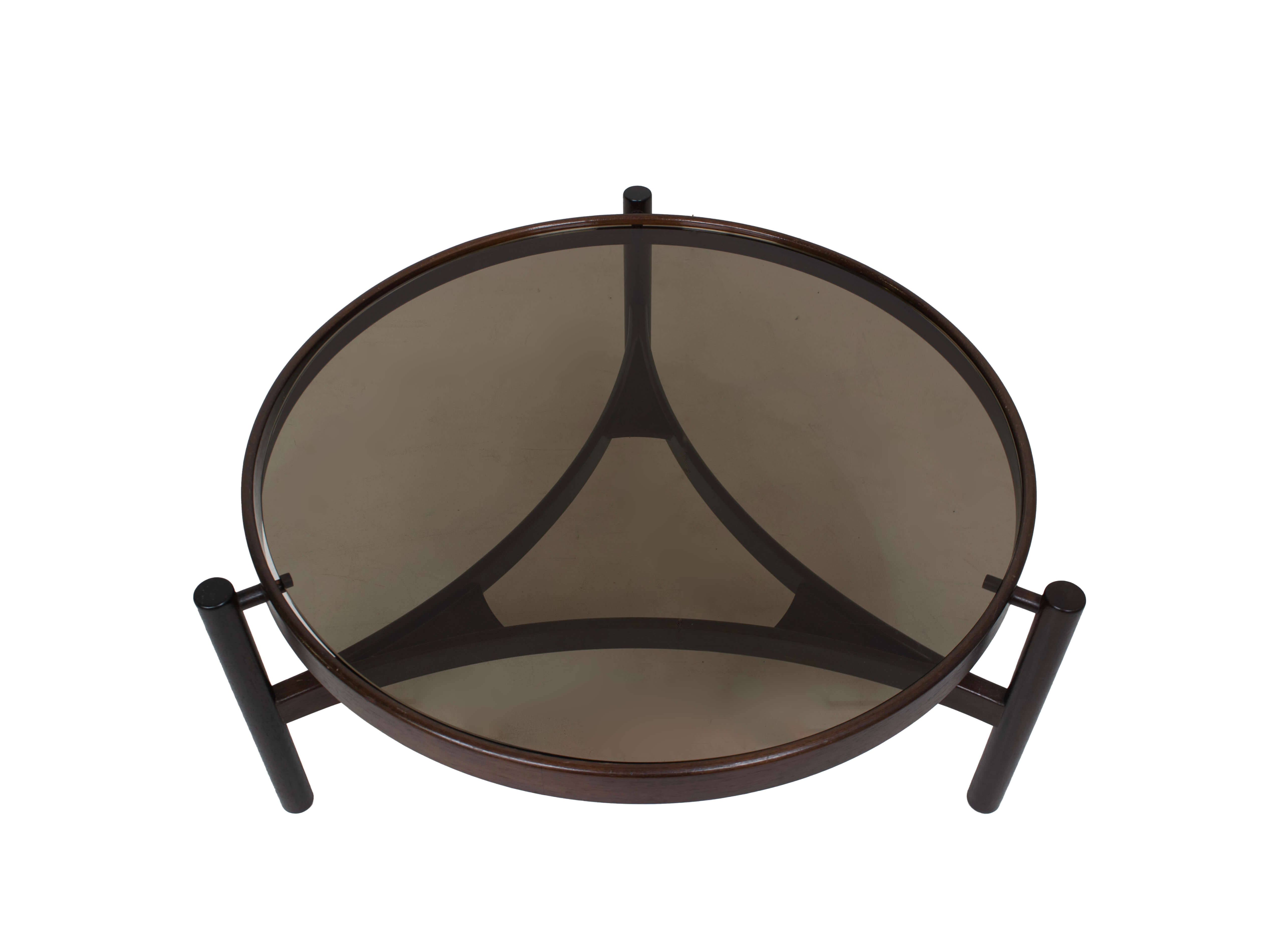 Top view Round Italian Modern Coffee Table Model 775 by Gianfranco Frattini for Cassina, 1960s