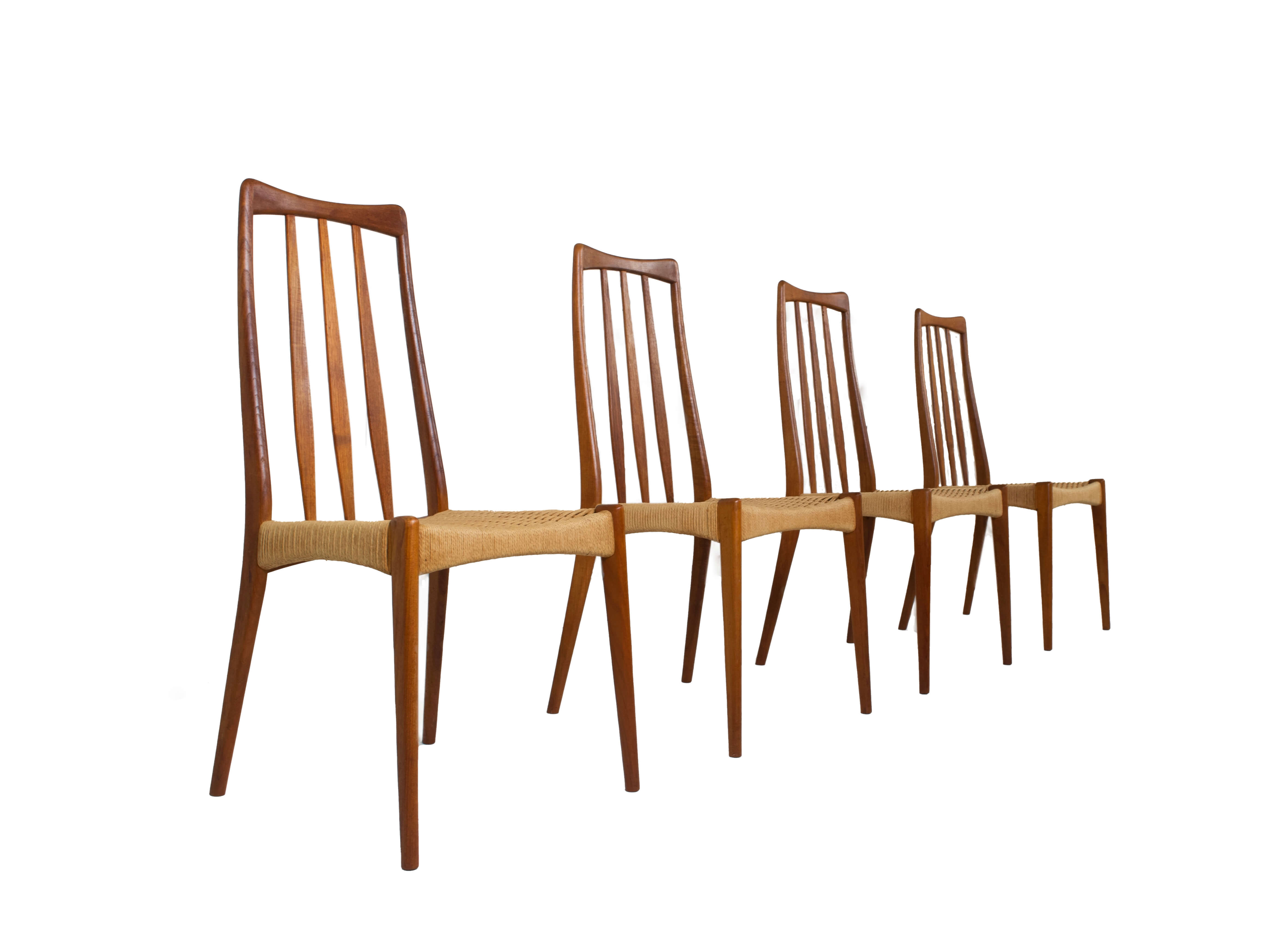 Set of 4 Scandinavian Design Vintage Dining Chairs in Papercord and Teak