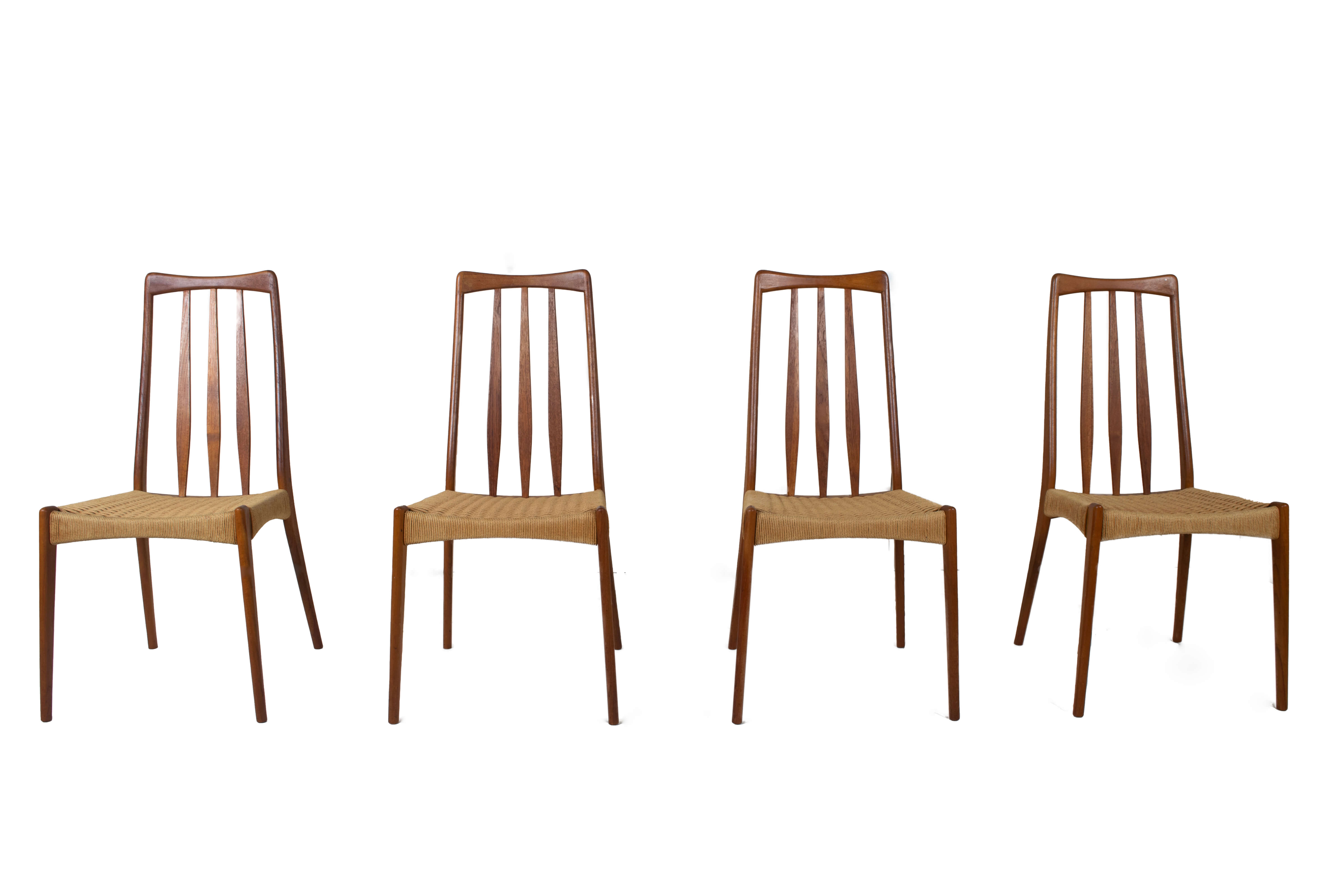 Scandinavian Design Vintage Dining Chairs in Papercord and Teak