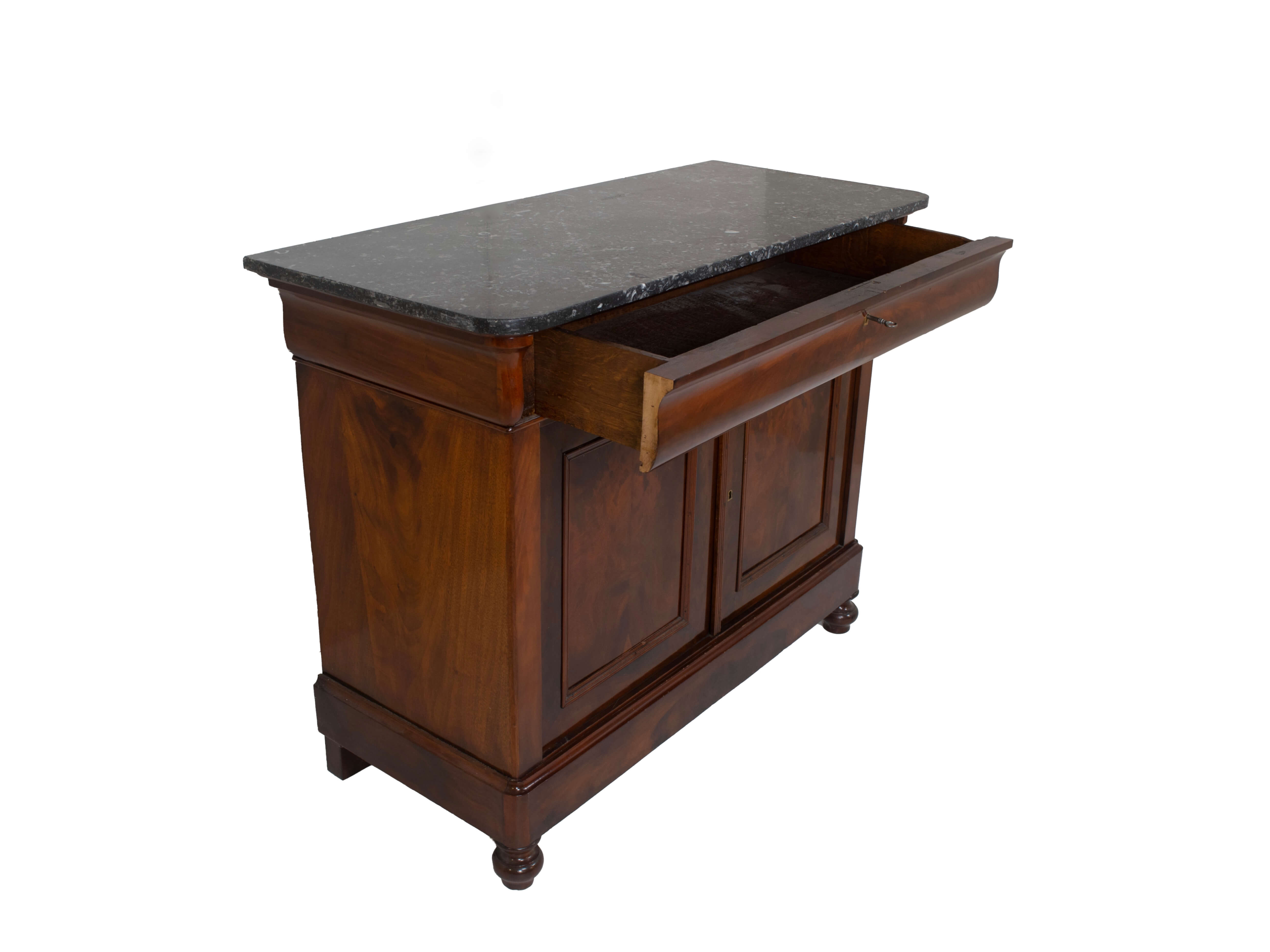 Side view Dutch Early Biedermeier Chest of Drawers in Mahogany with Marble Top