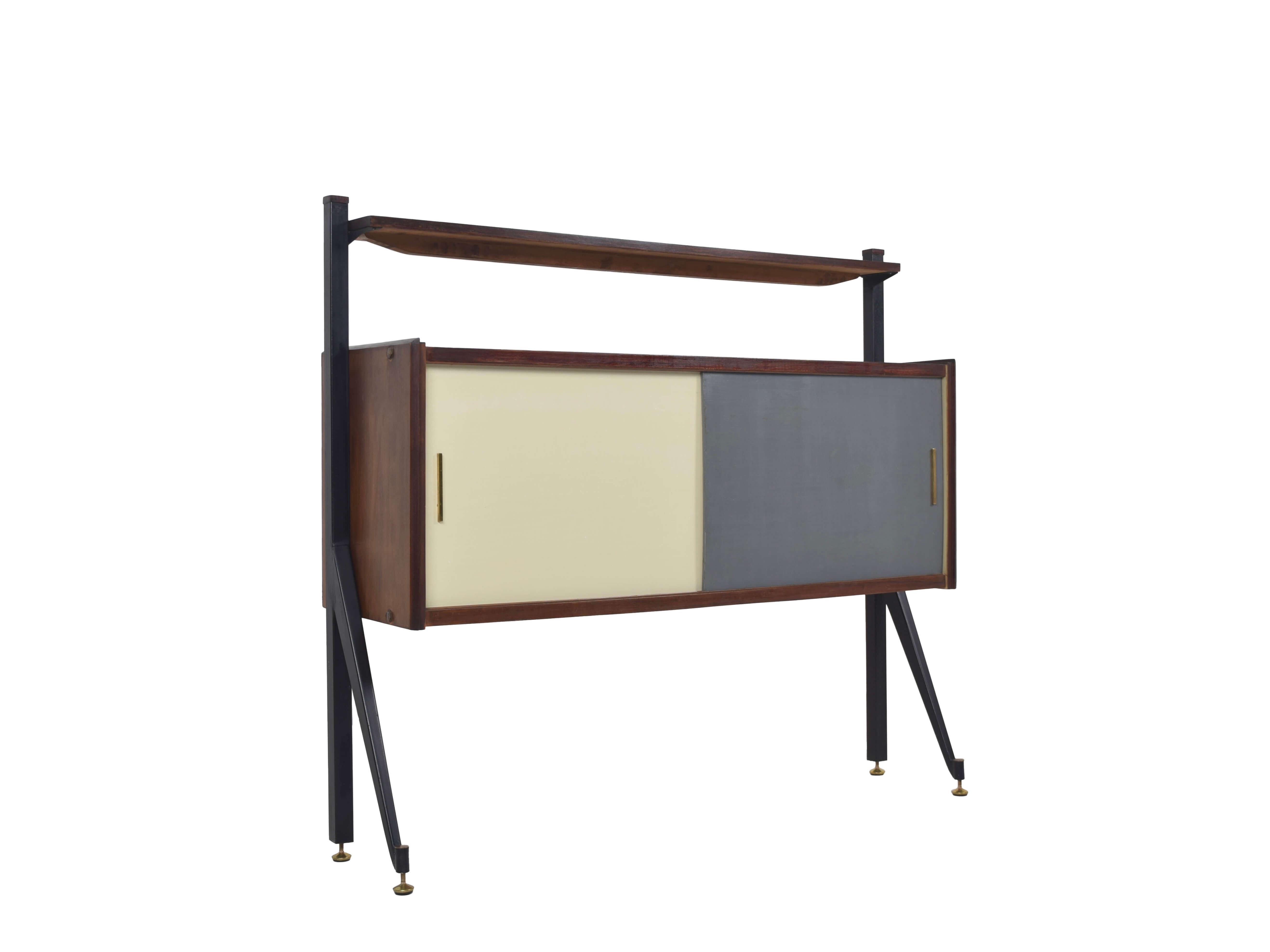Italian Modern Cabinet with Colored Sliding Doors, Italy 1970s