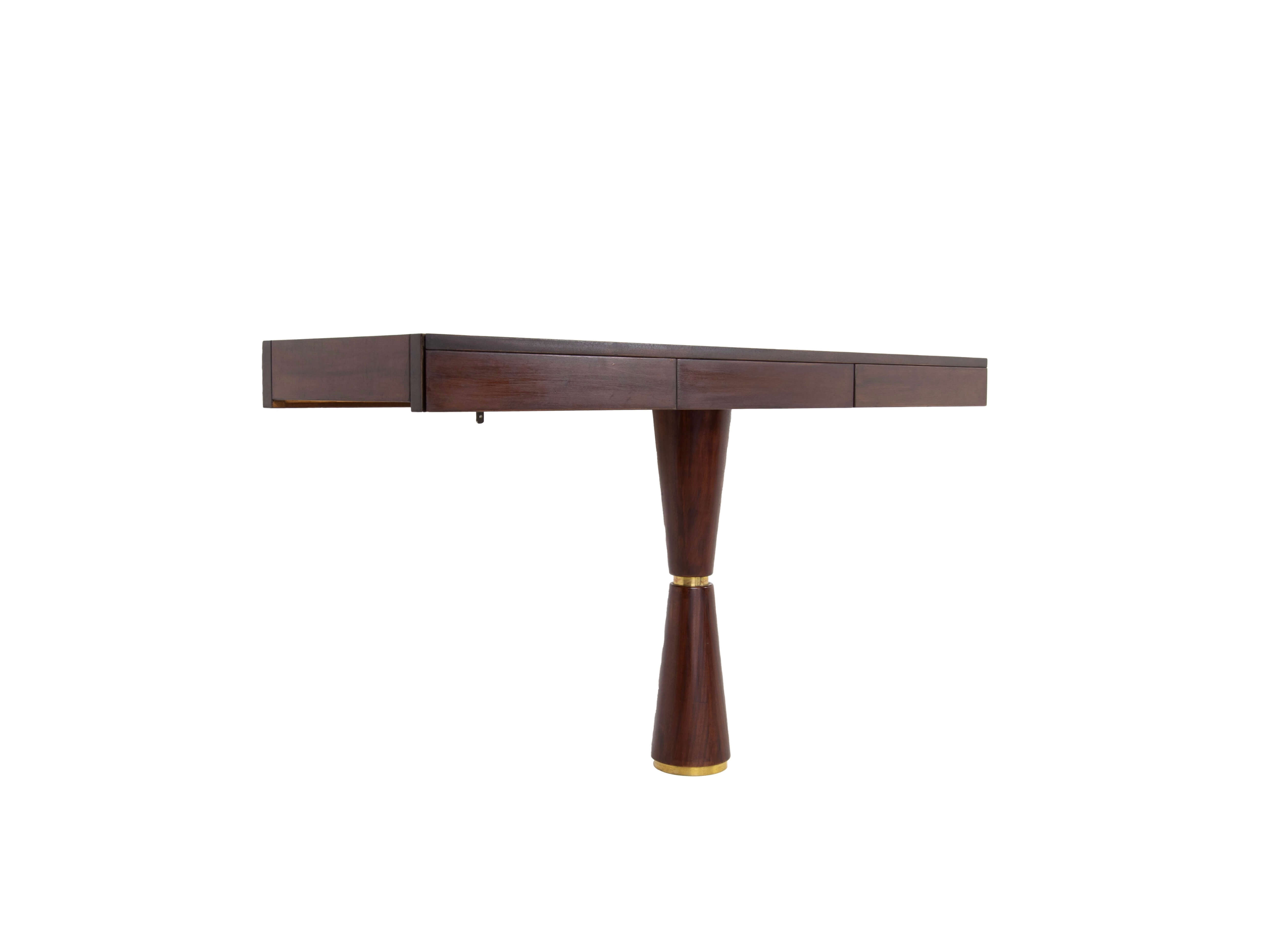 Side view Italian Modern Console in Hard Wood and Brass Attr. to Angelo Mangiarotti