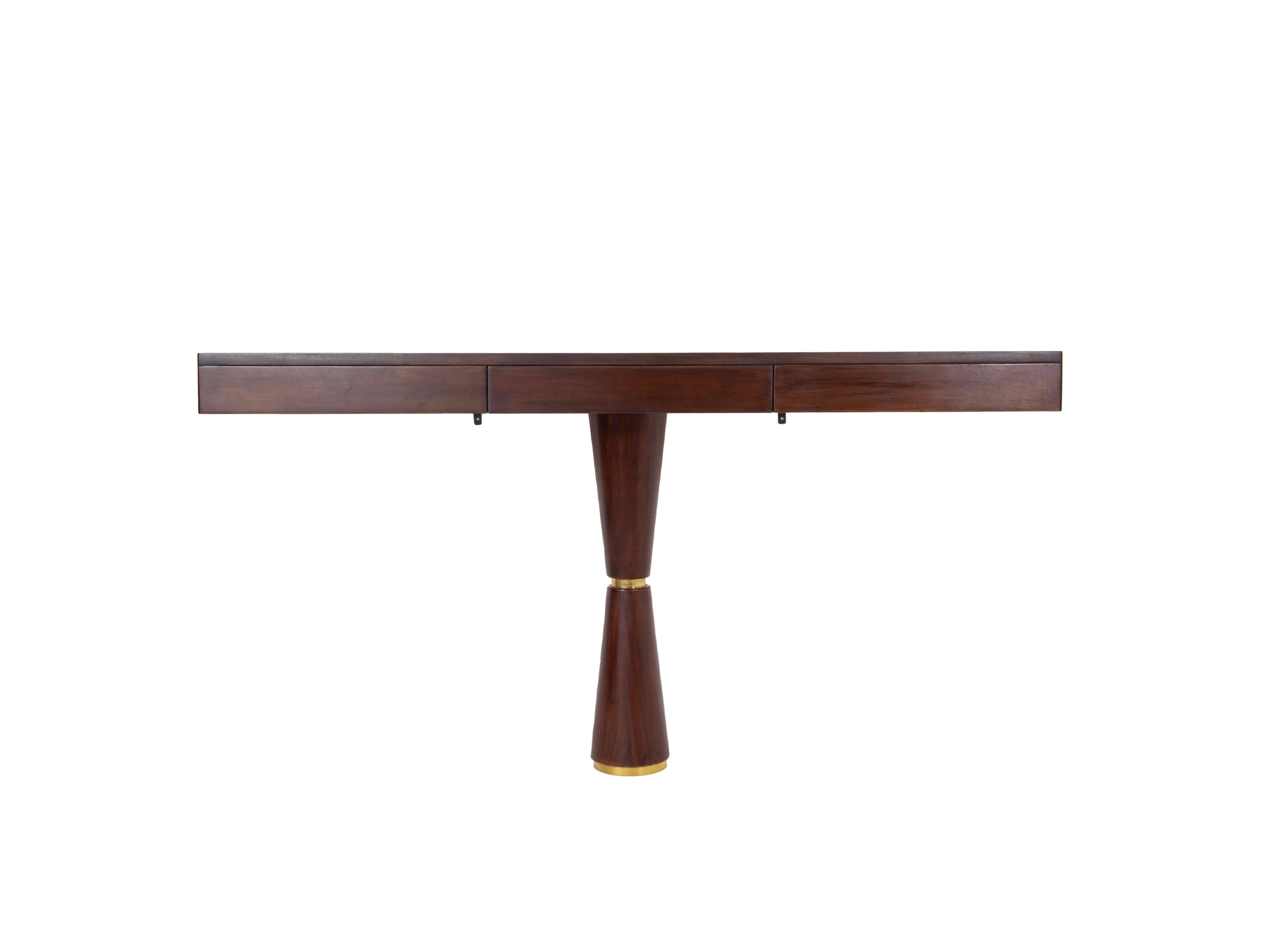 Italian Modern Console in Hard Wood and Brass Attr. to Angelo Mangiarotti, 1960s