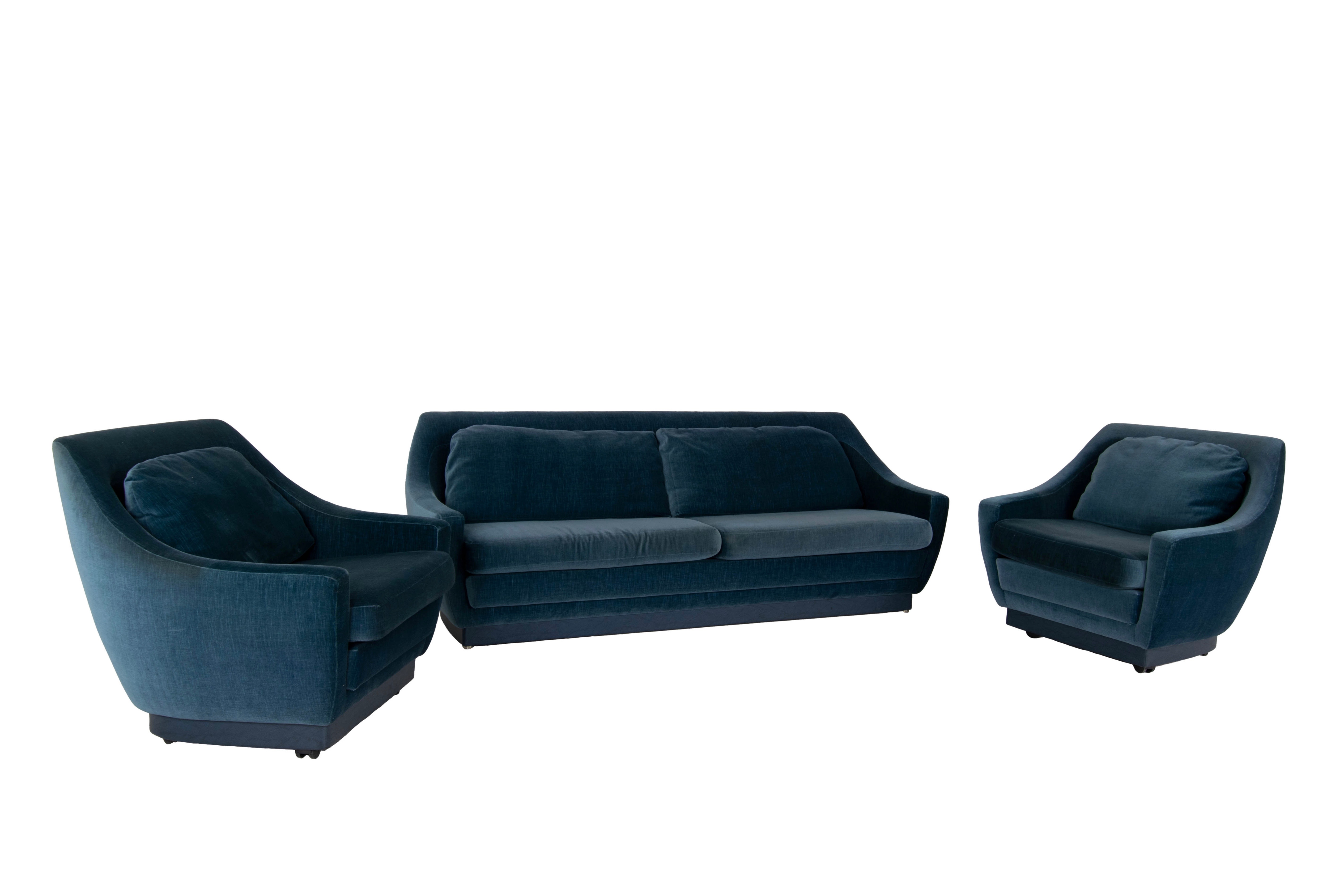 Set of Art Deco Style Velvet Blue Sofa and Two Lounge Chairs, The Netherlands