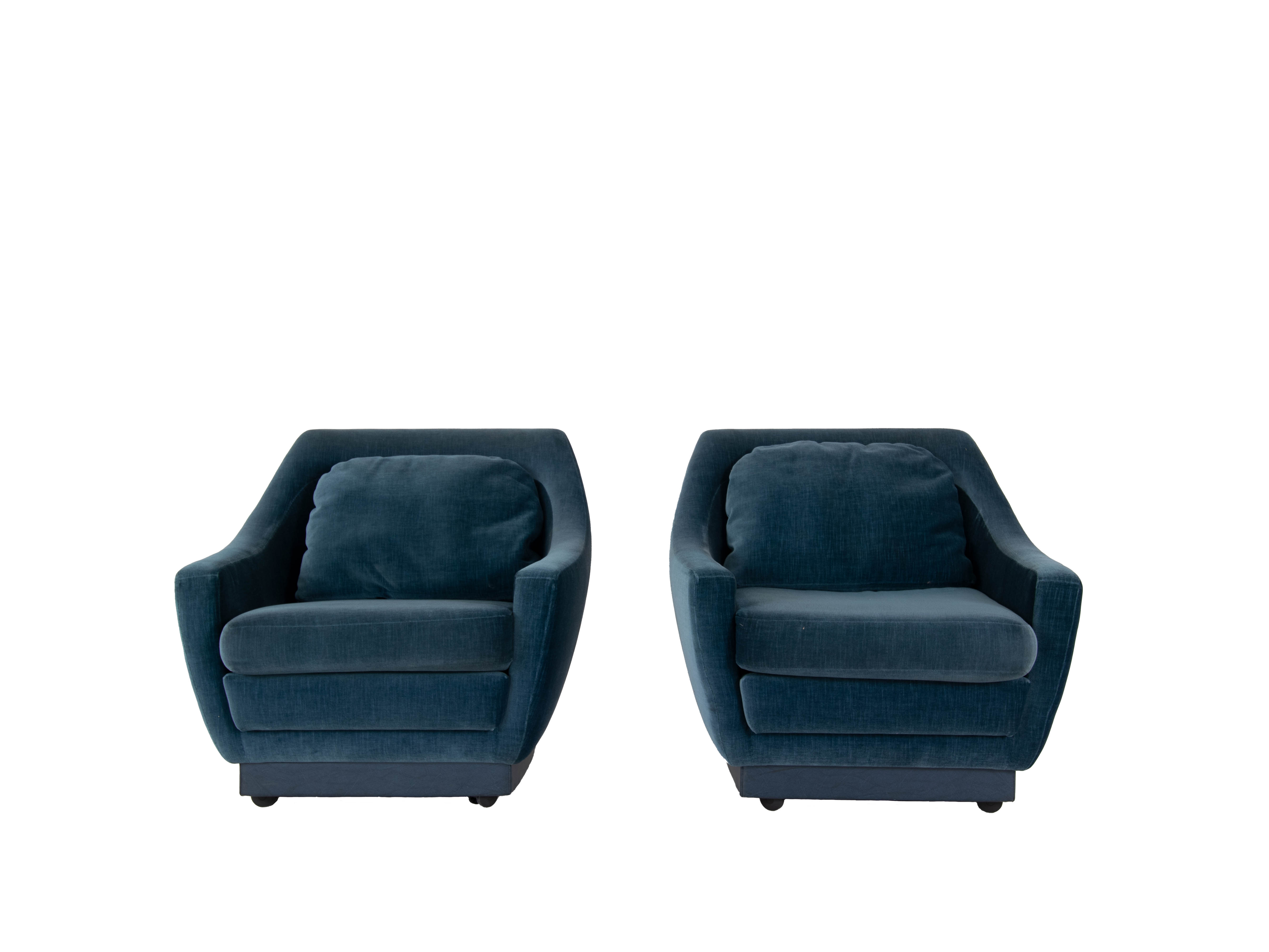 Set of Art Deco Style Lounge Chairs in Blue Velvet, The Netherlands