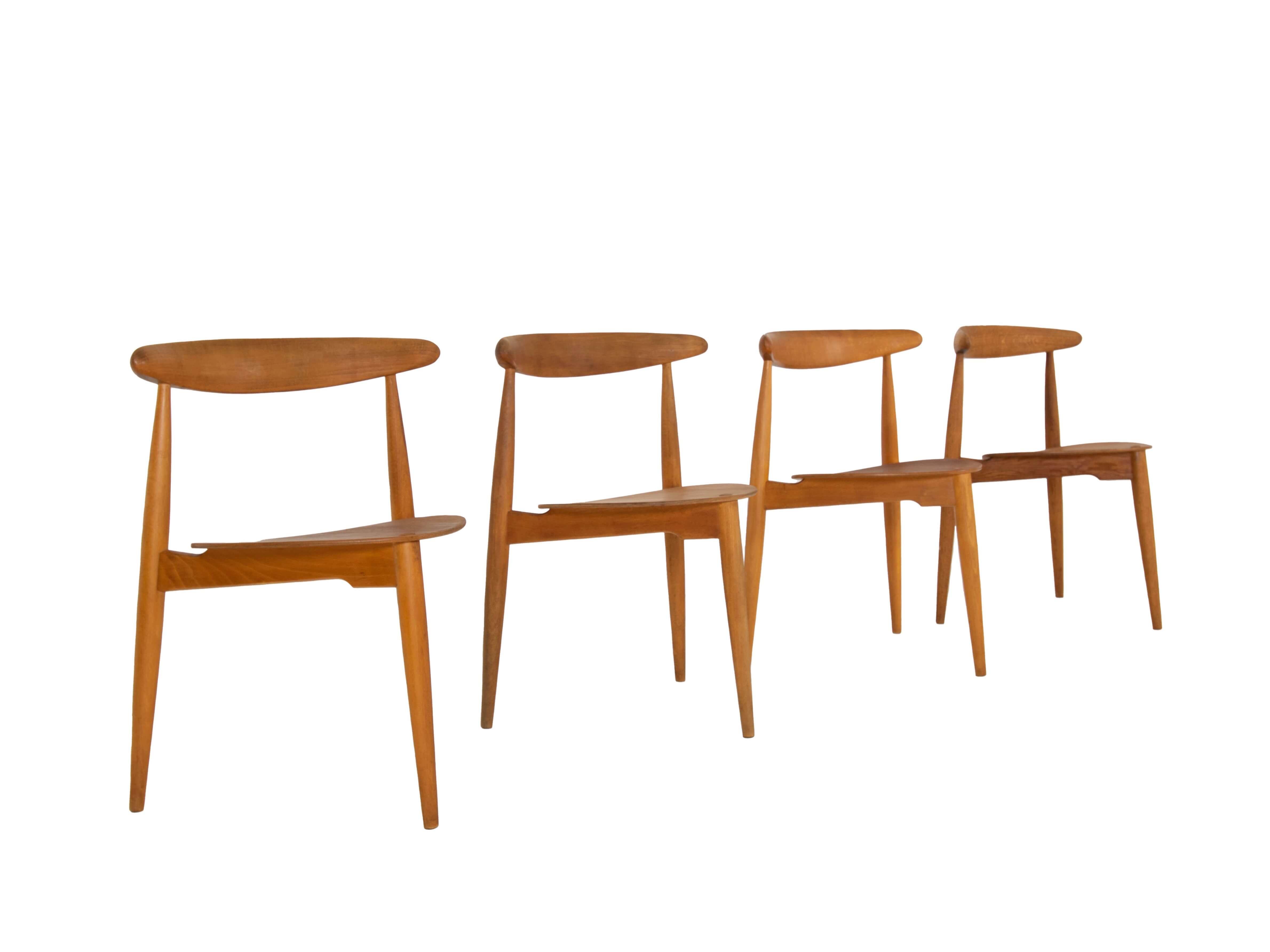Set of Four 'Heart' Dining Chairs by Hans Wegner Model FH4103 for Fritz Hansen, Denmark 1950s