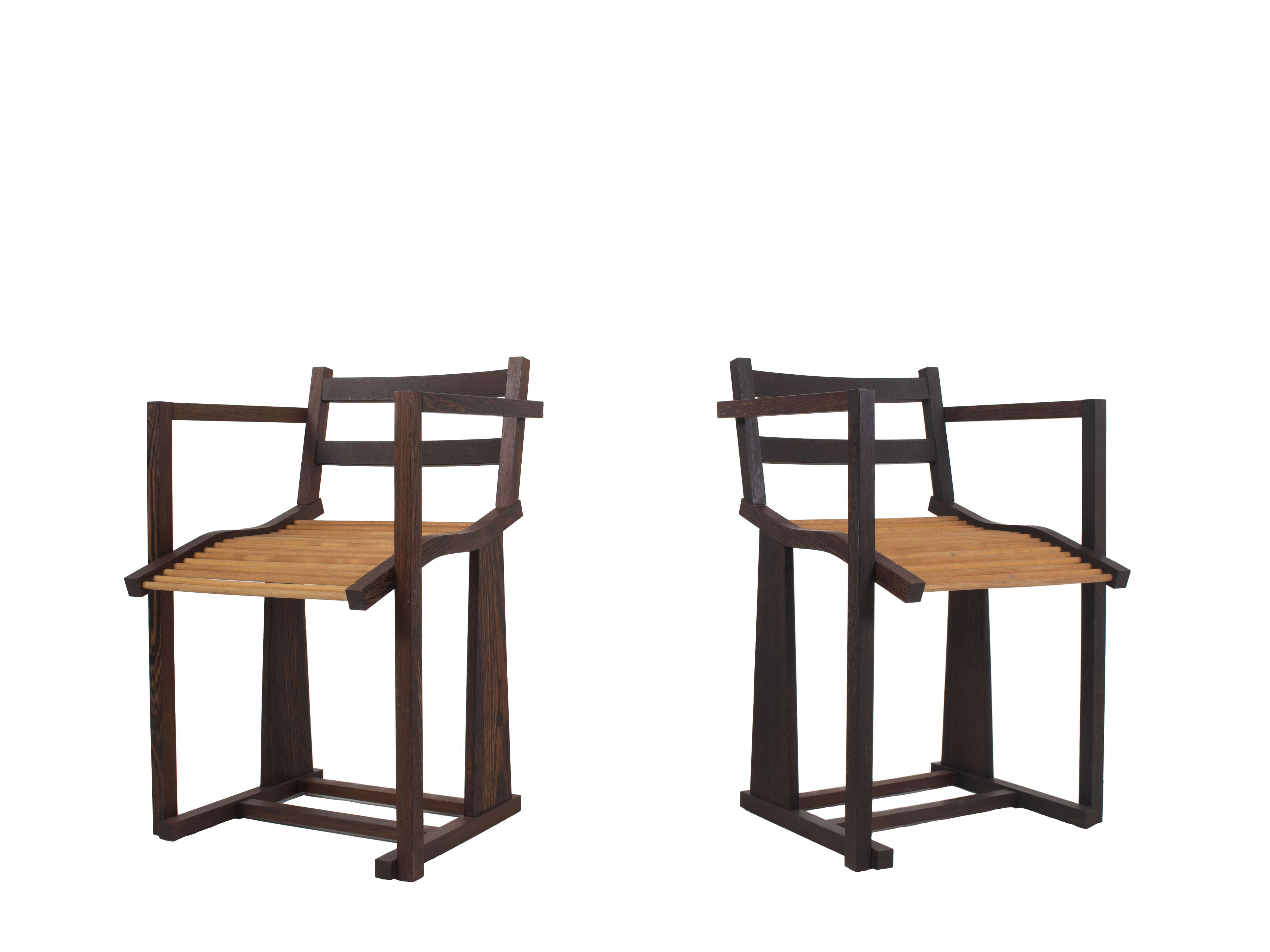Solid Wenge Armchairs with Round Oak Slat Seats, 1980s