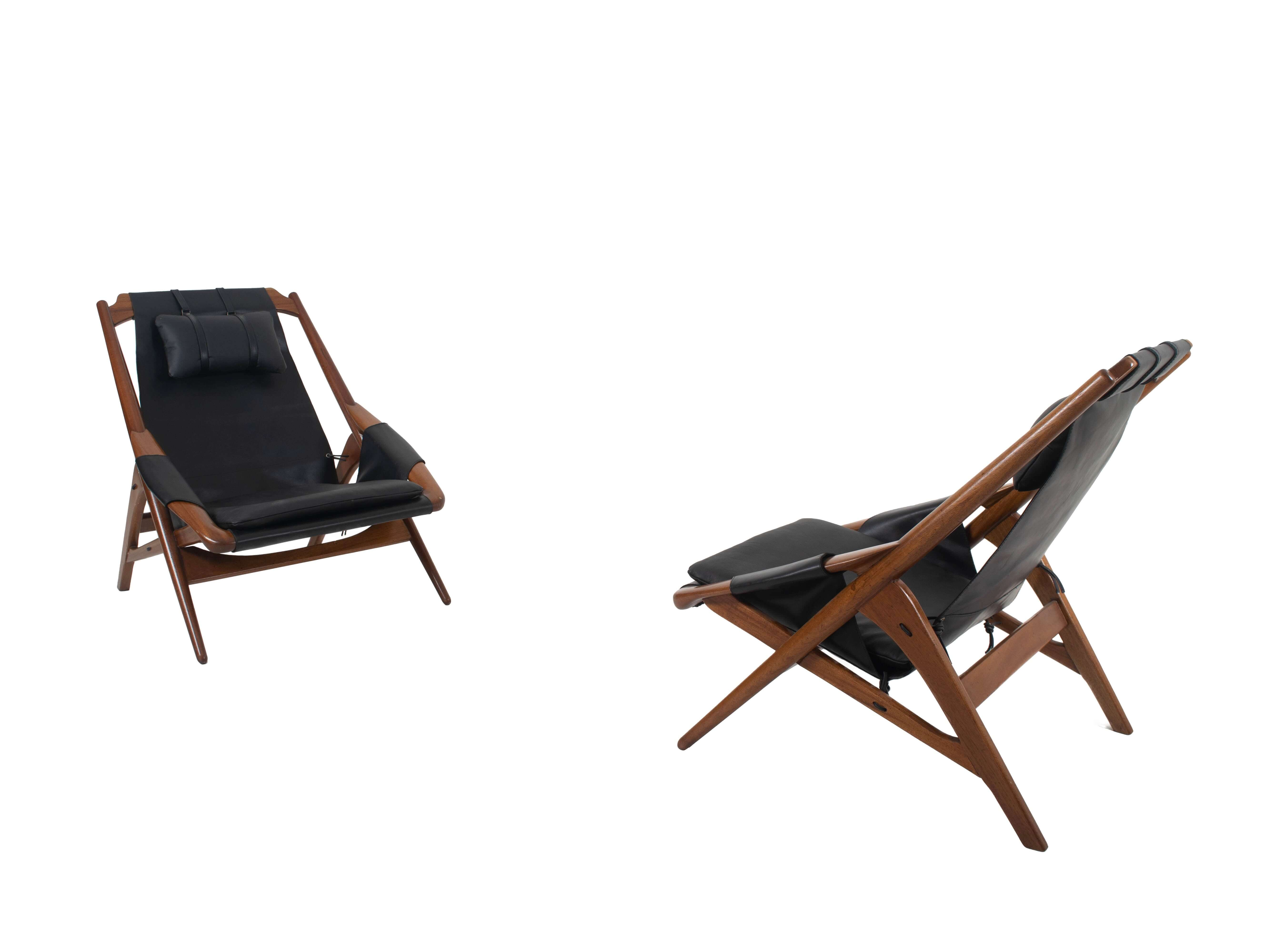 Pair of Leather Lounge Chairs by W.D. Andersag, Italy 1960s