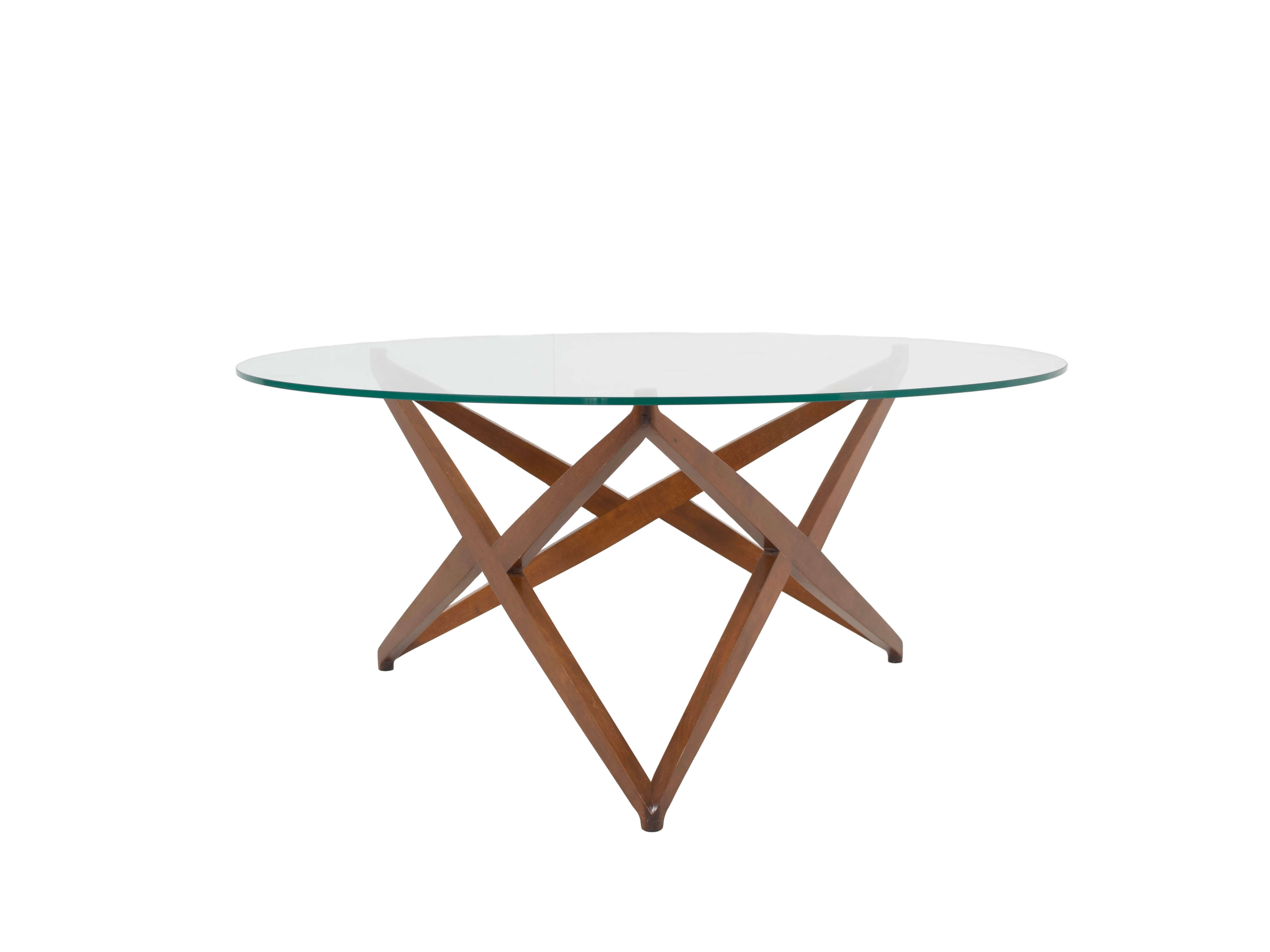 Italian Modern Round Coffee Table with Star-shaped Base by Angelo Ostuni, Italy 1960s