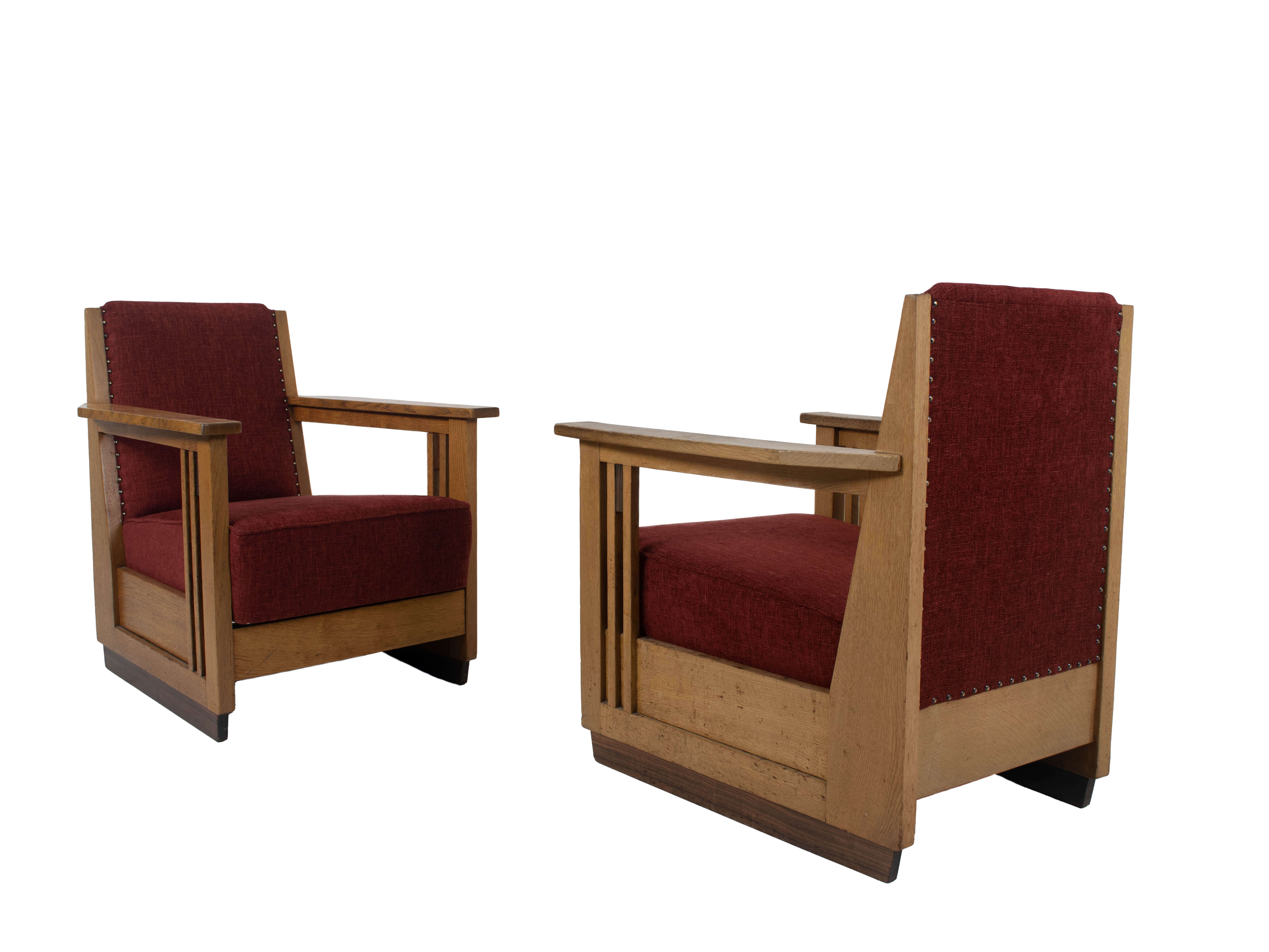 Set of Two Amsterdam School Arm Chairs, The Netherlands 1930s