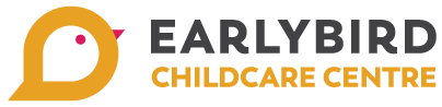 Earlybird Childcare Centre logo text and yellow bird logo