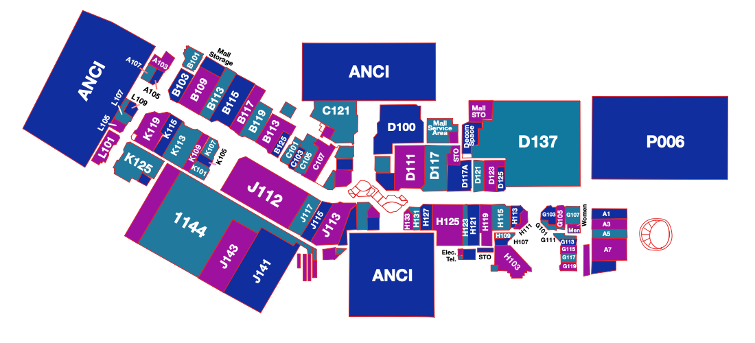 Map of the store locations in the mall