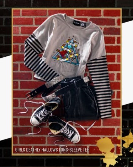 Girls Deathly Hallows Long Sleeve Tee, converse shoes, black pants, and a belt