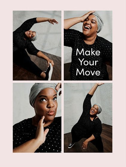 Four photos of a model posing and doing yoga