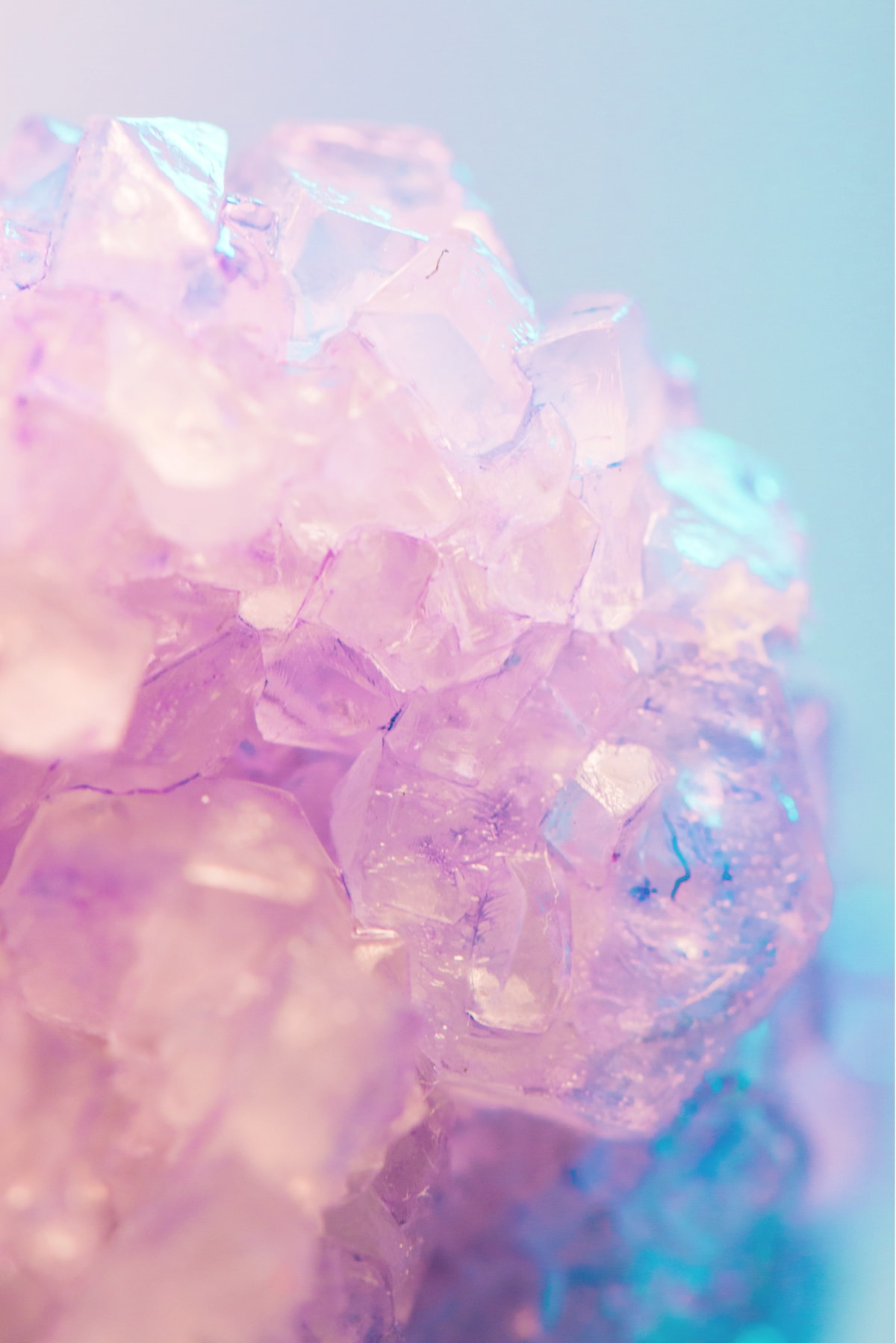 Pink and blue crystals