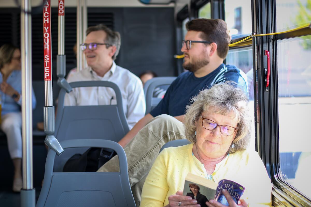 People riding public transit in Salem