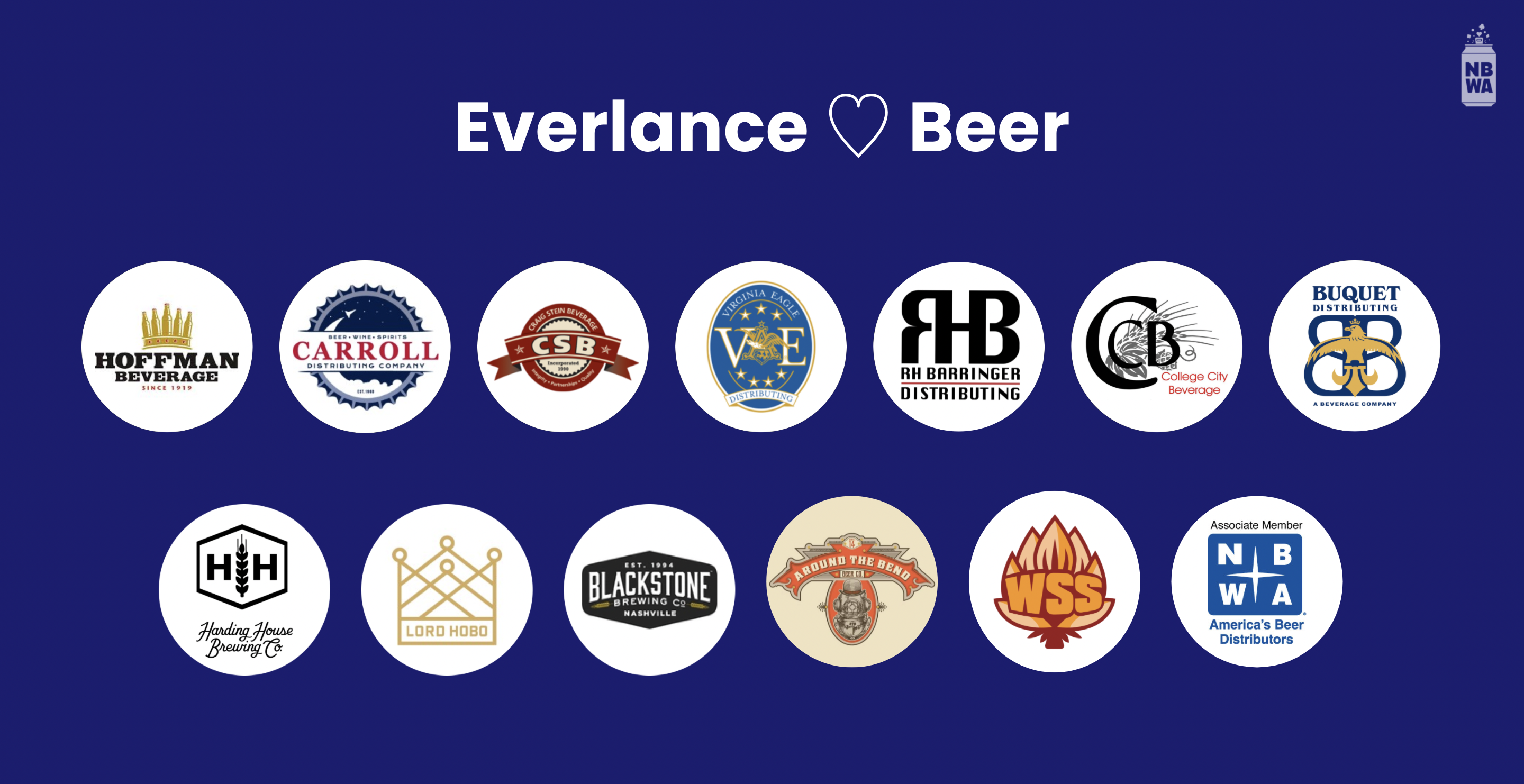 Hoffman Beverage, Carroll Distributing, Craig Stein Beverage, Virginia Eagle Distributing, R.H. Barringer, College City Beverage, Buquet Distributing and more