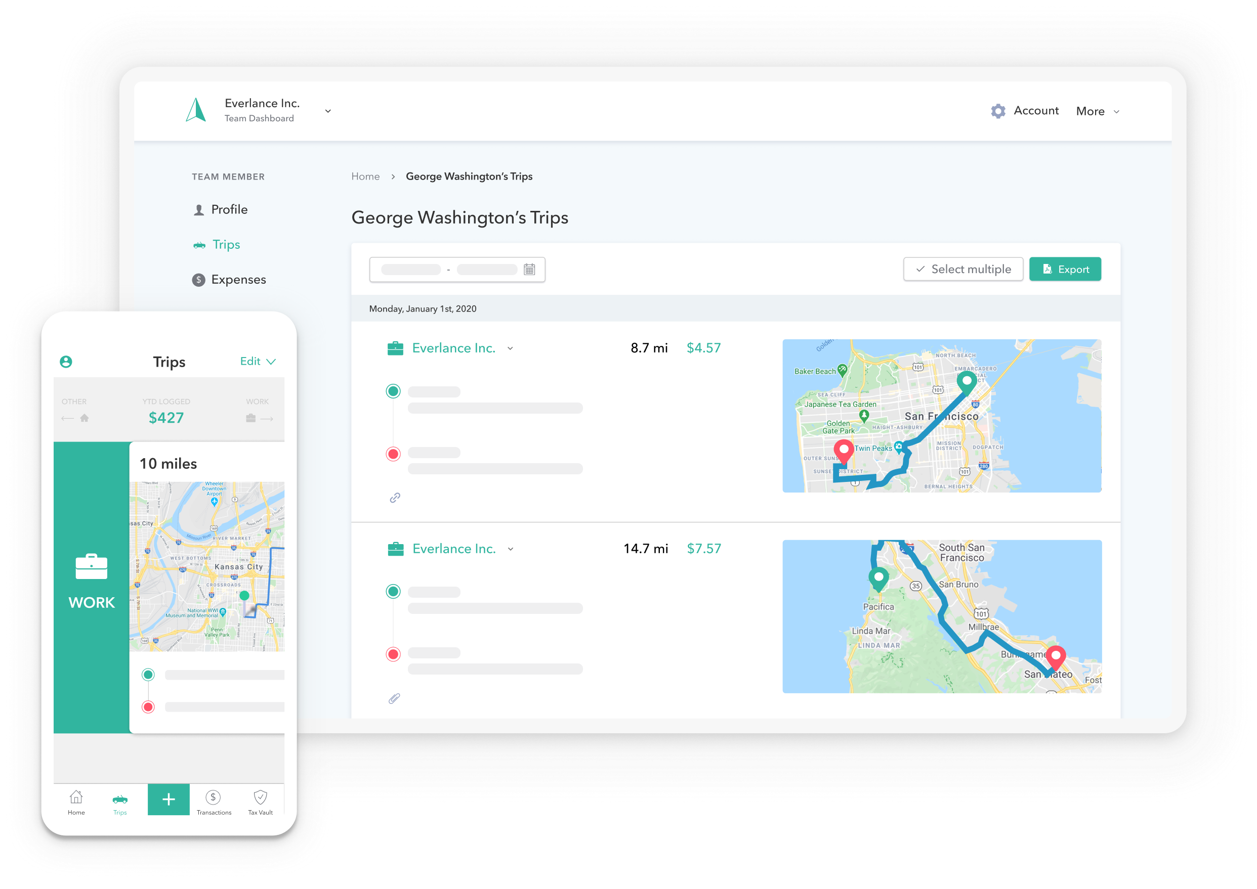 Everlance top mileage tracking app