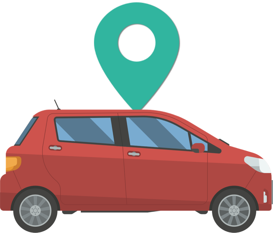 car with location icon