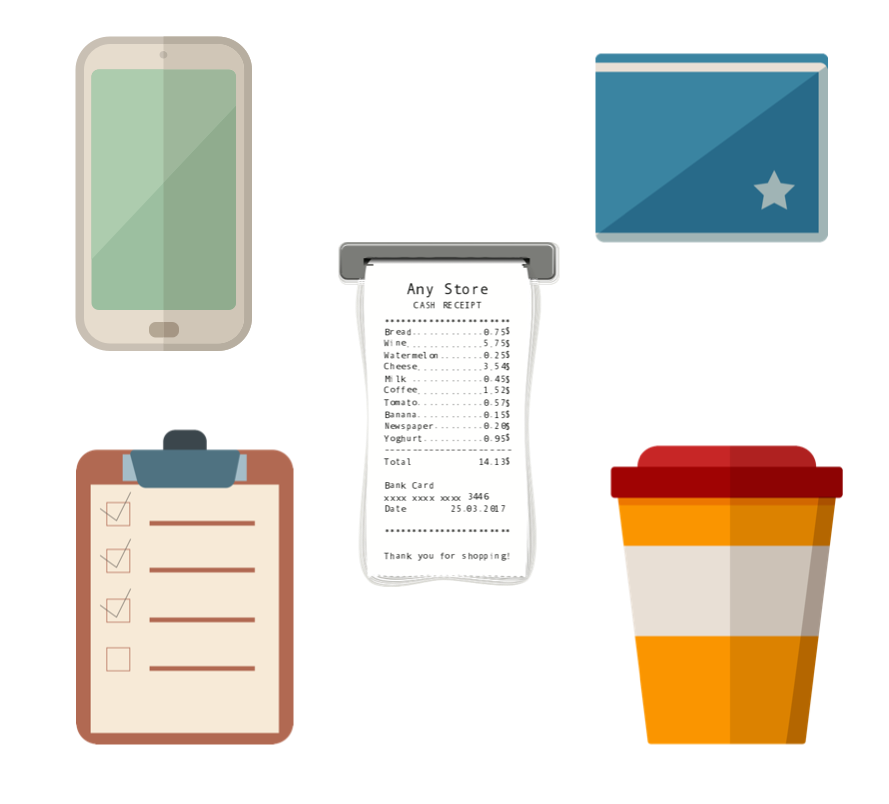 Clipboard, mobile phone, receipt, wallet, and coffee cup