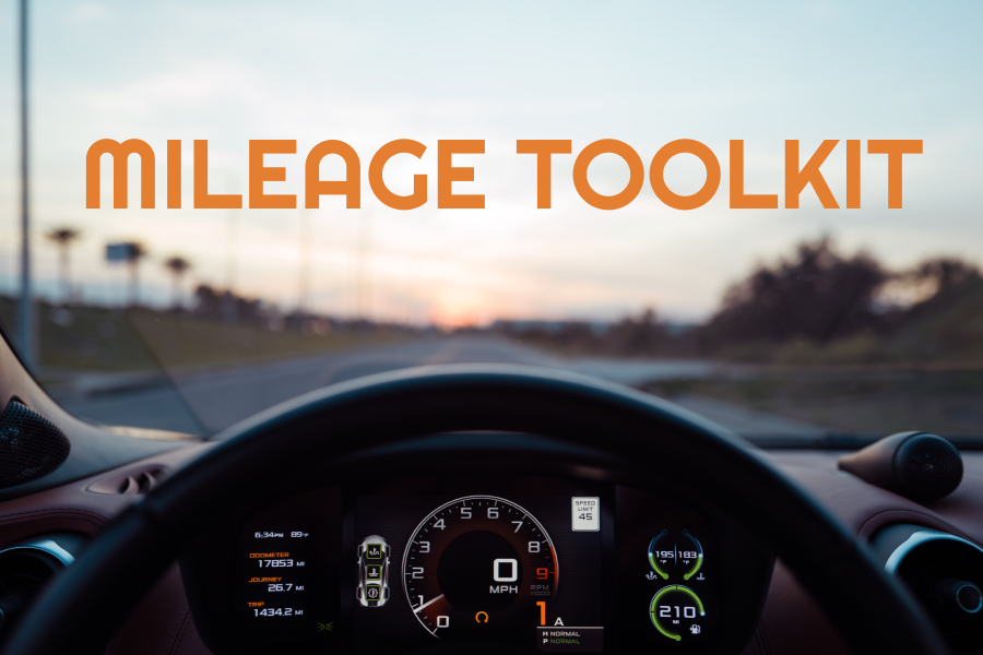 everlance mileage toolkit, picture of the inside dashboard of a car